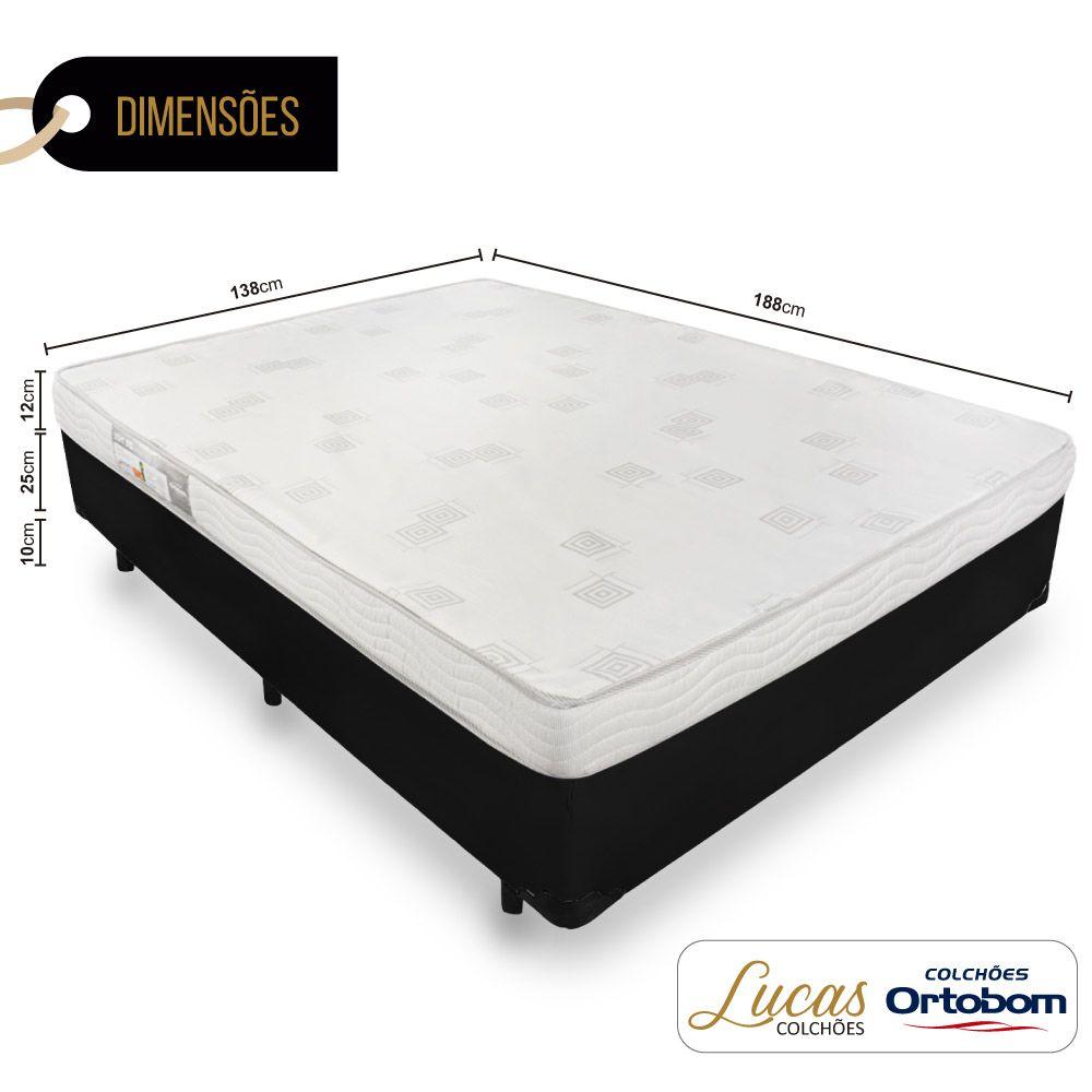 Cama Box Casal + Colchão De Espuma D23 - Ortobom - Light 138cm