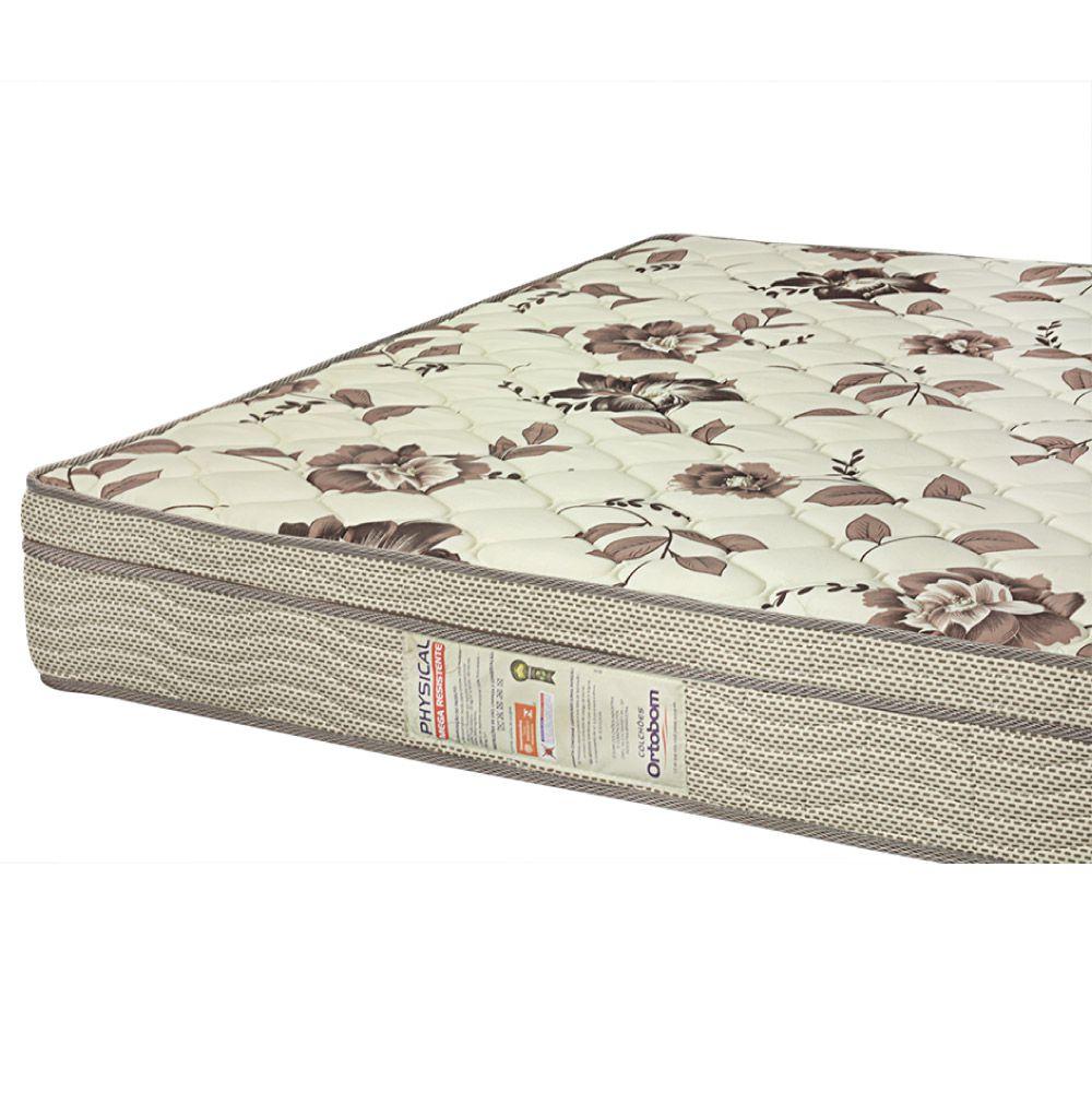 Cama Box Casal + Colchão De Espuma D28 - Ortobom - Physical Mega Resistente 138cm