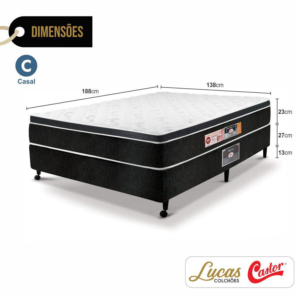 Cama Box Casal + Colchão De Espuma D33 - Castor - Black & White One Face 63x138x188cm