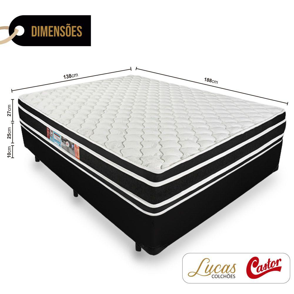 Cama Box Casal + Colchão De Espuma D33 - Castor - Black White Double Face 138cm
