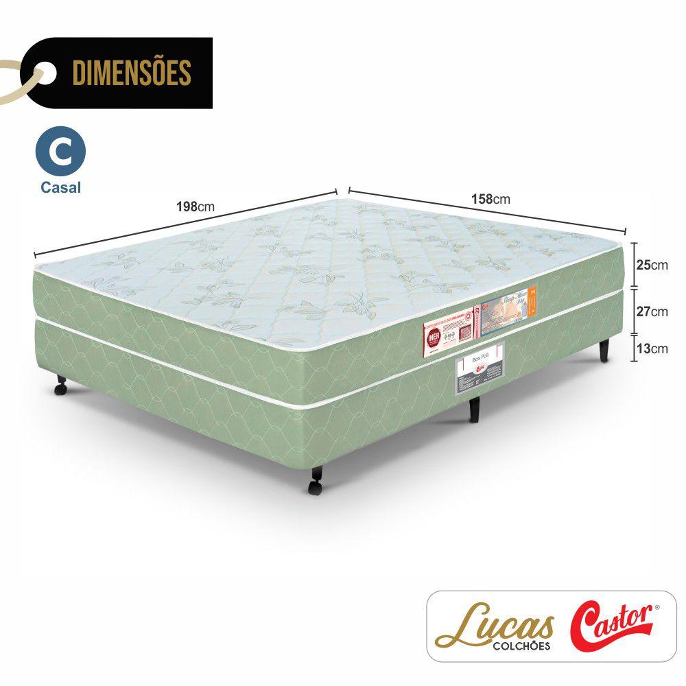 Cama Box Casal + Colchão De Espuma D33 - Castor - Sleep Max 65x138x188cm