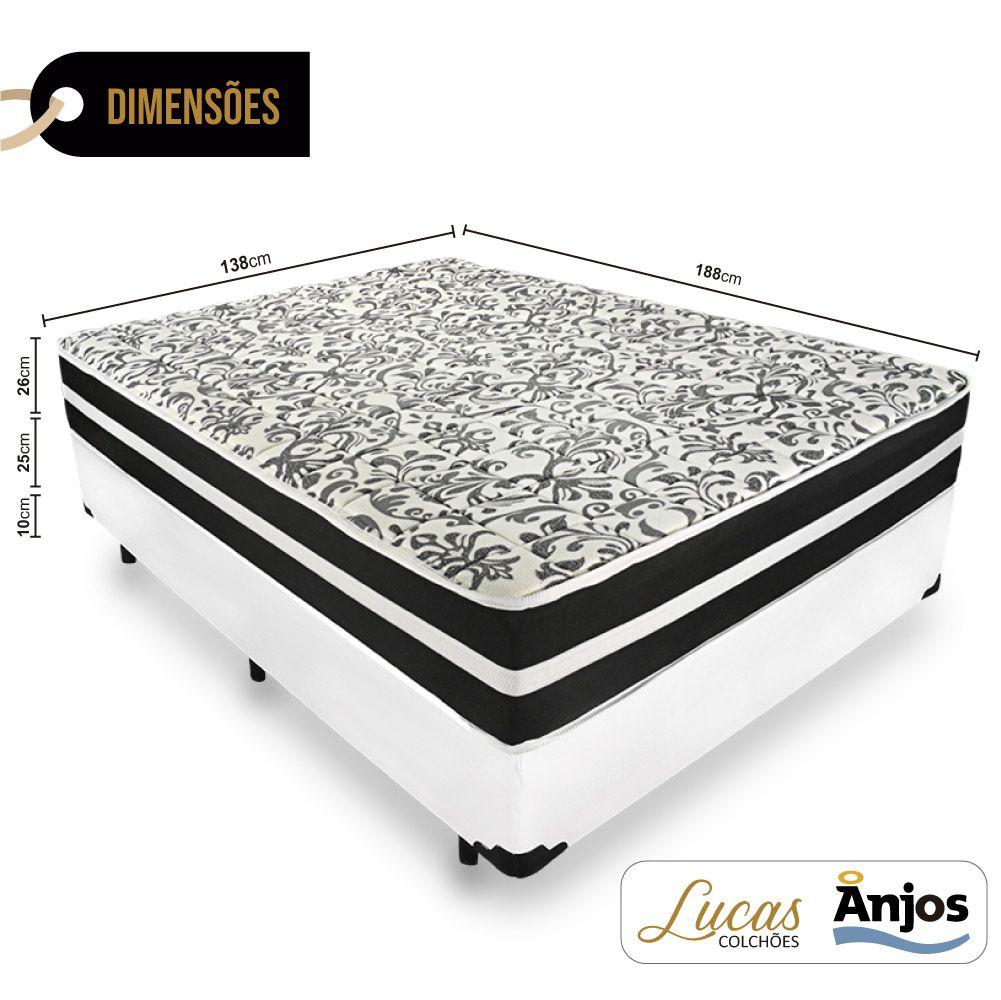 Cama Box Casal + Colchão De Molas - Anjos - Black Graphite 138cm