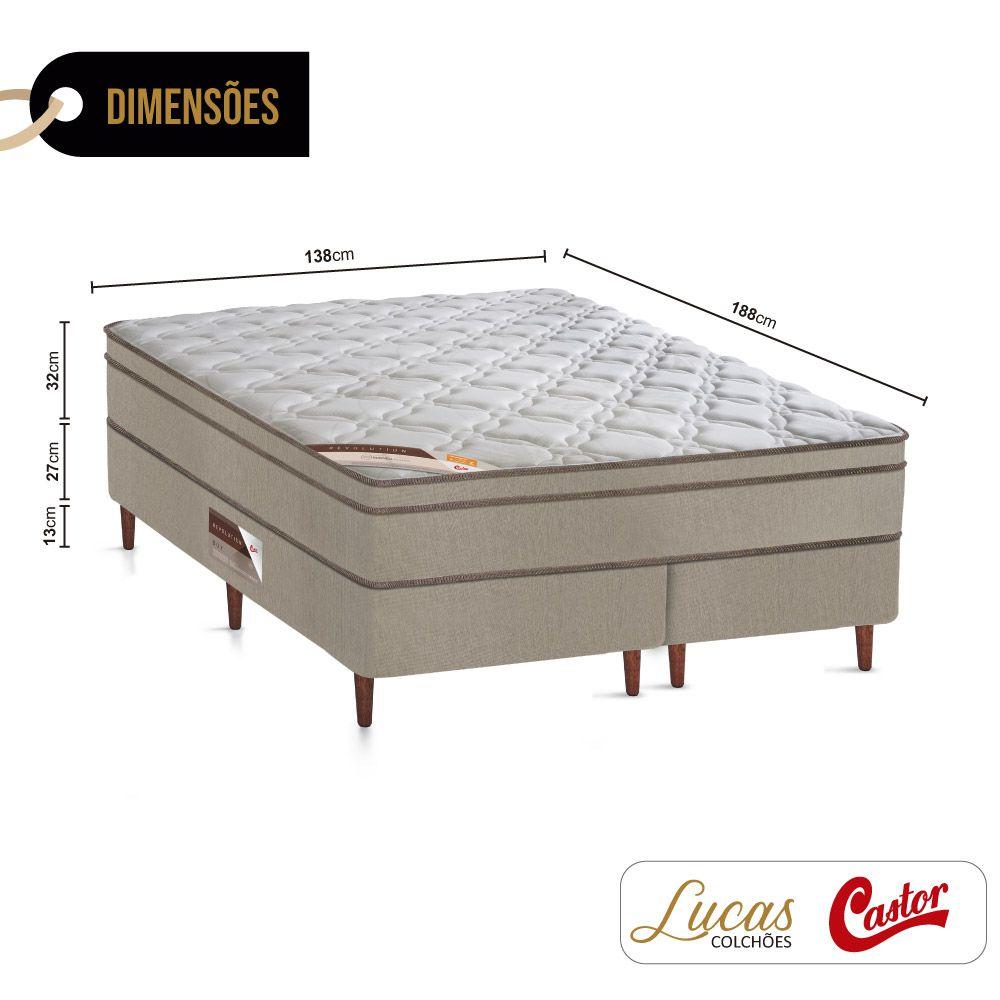 Cama Box Casal Bipartido + Colchão De Molas - Castor - Revolution Bonnel 138cm