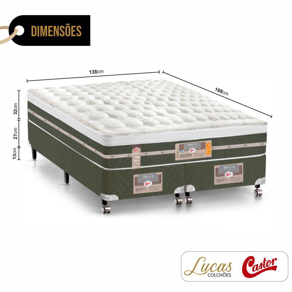 Cama Box Casal Bipartido + Colchão De Molas - Castor - Silver Star Air 138cm
