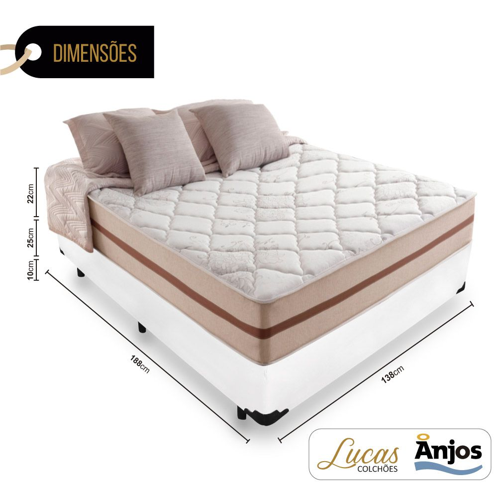 Cama Box Casal + Colchão De Molas Ensacadas - Anjos - Classic 22x188x138cm