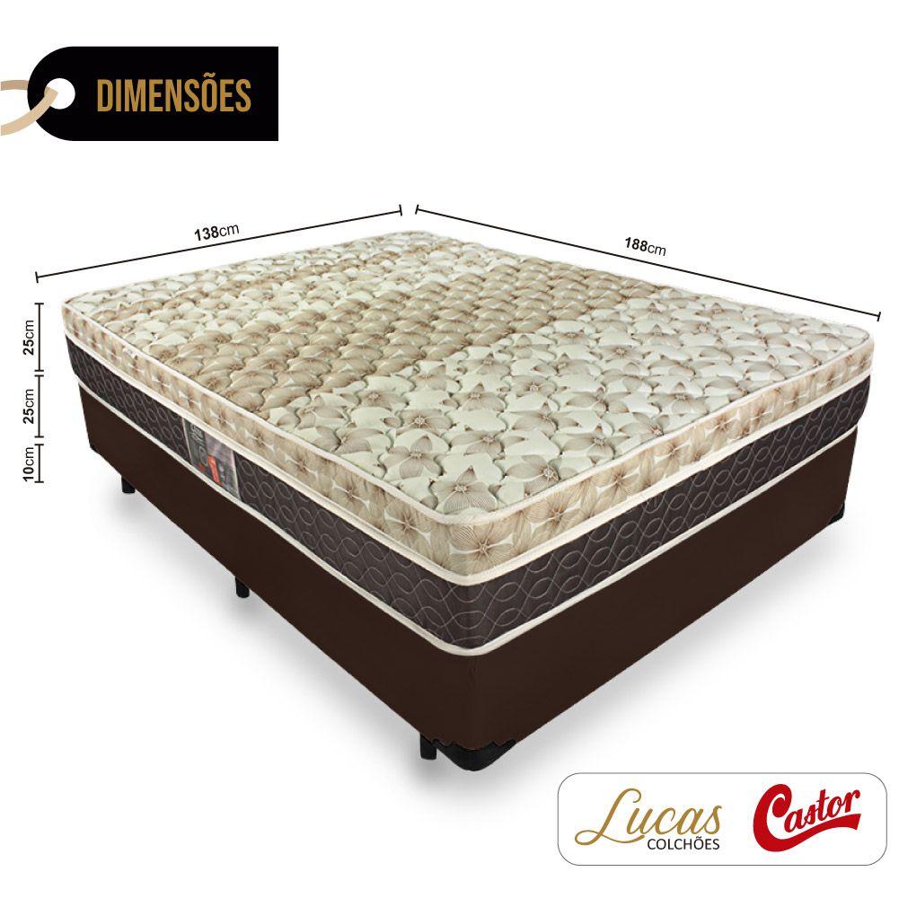 Cama Box Casal + Colchão De Molas Ensacadas - Castor - Class Pocket Híbrido One Face 138cm