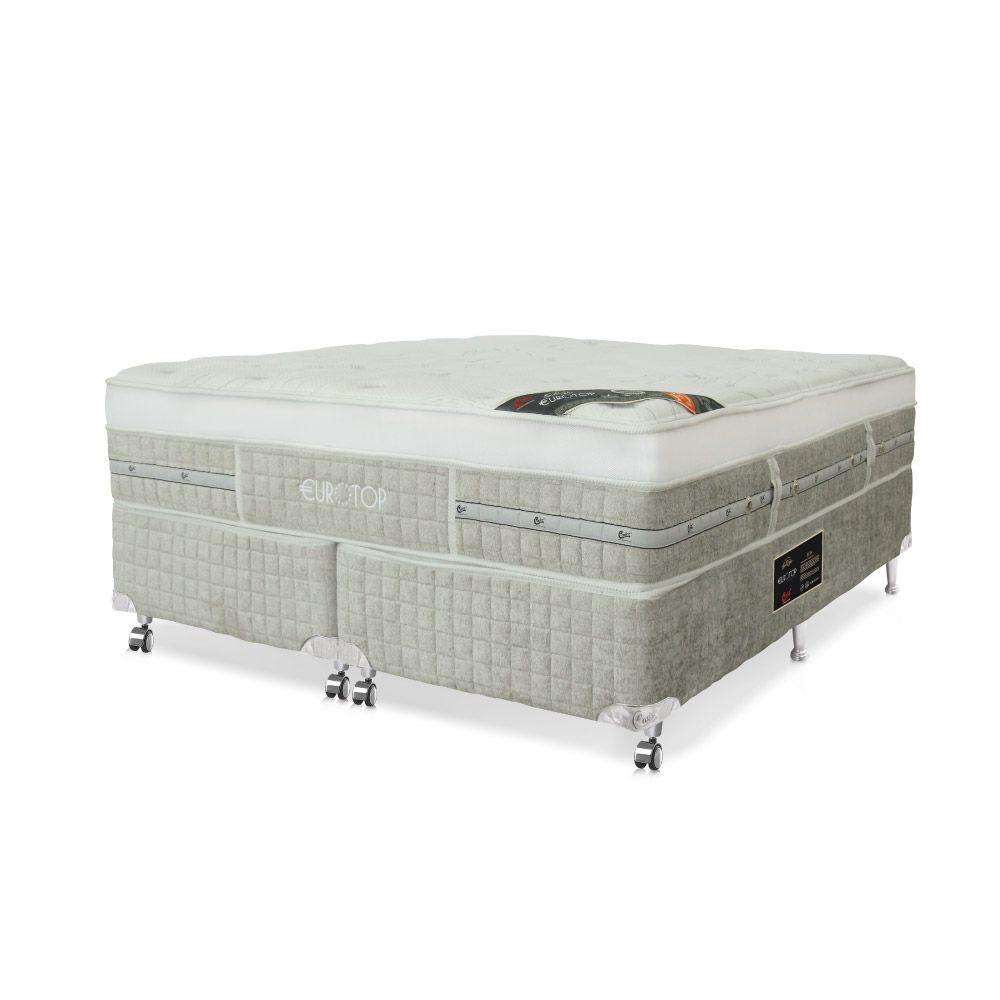 Cama Box Casal Bipartido + Colchão De Molas Ensacadas - Castor - Eurotop Summer & Winter One Face 138cm