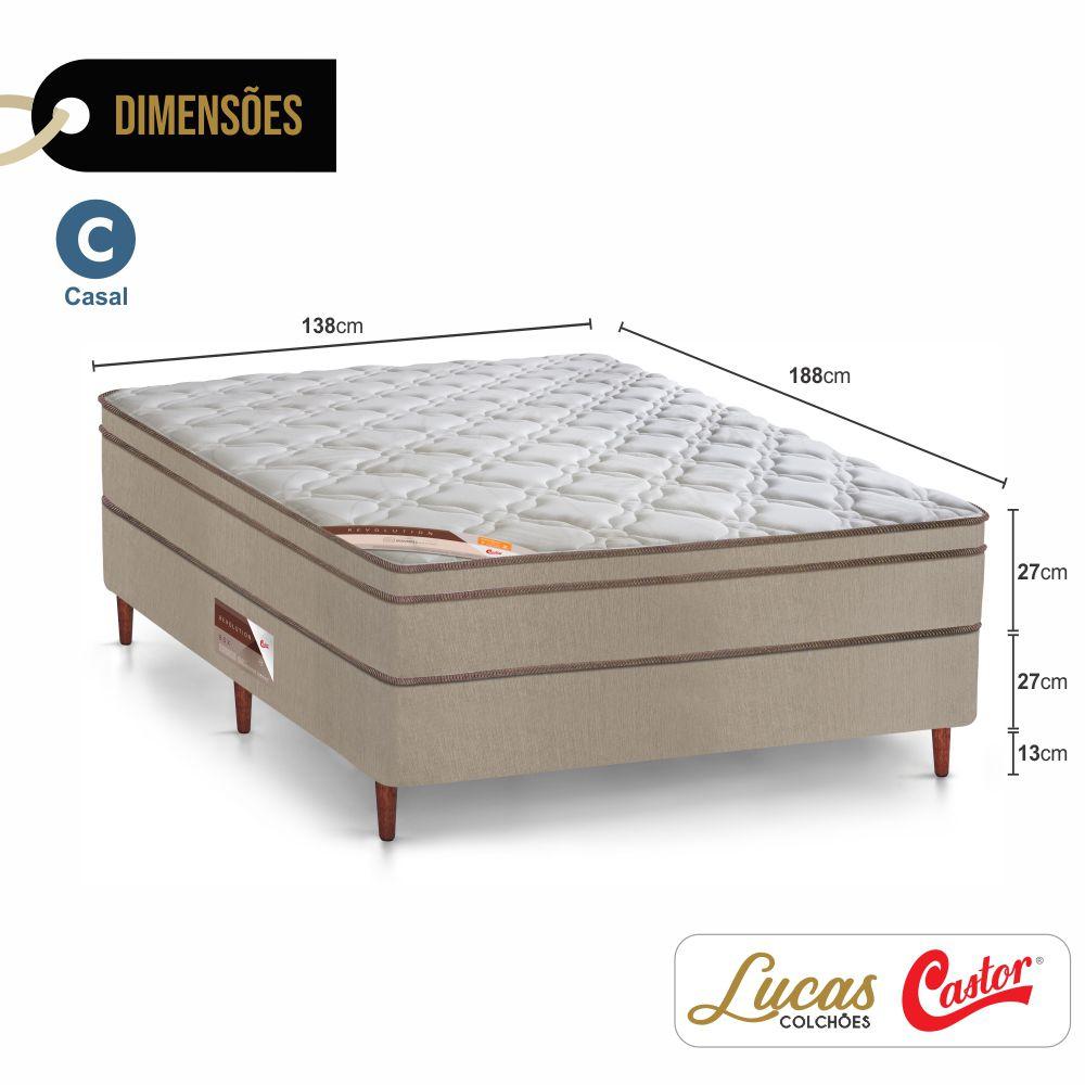 Cama Box Casal + Colchão De Molas Ensacadas - Castor - Revolution Pocket Híbrido + Cabeceira Suede Bege 138cm