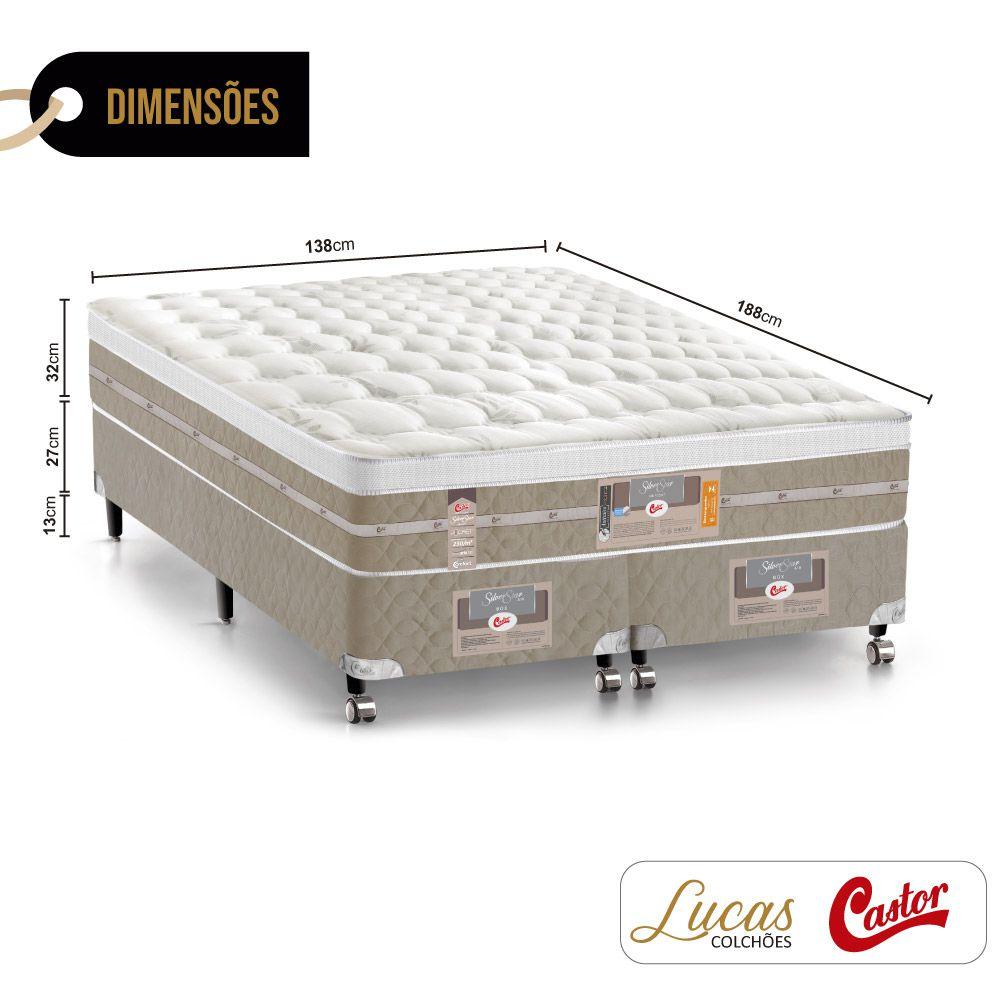 Cama Box Casal Bipartido + Colchão De Molas Ensacadas - Castor - Silver Star Air 138cm