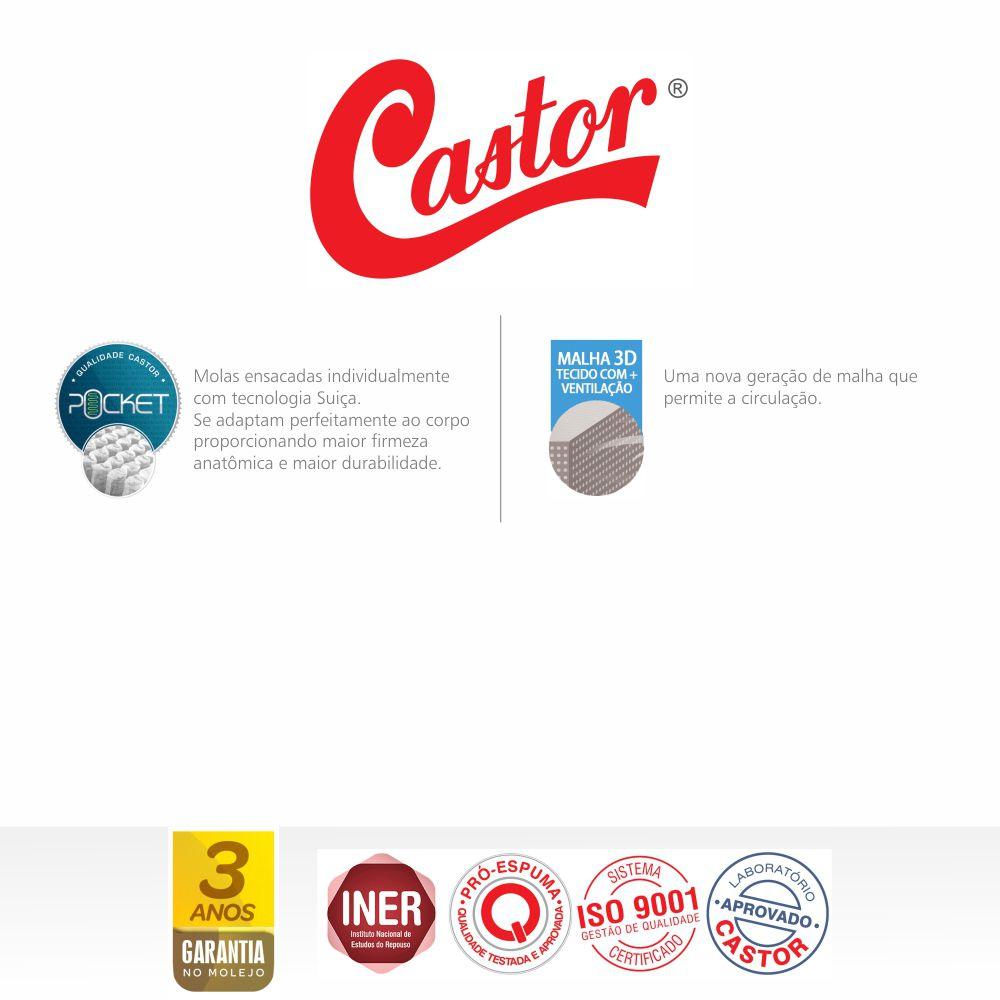 Cama Box Casal + Colchão De Molas Ensacadas - Castor - Silver Star Air 138cm