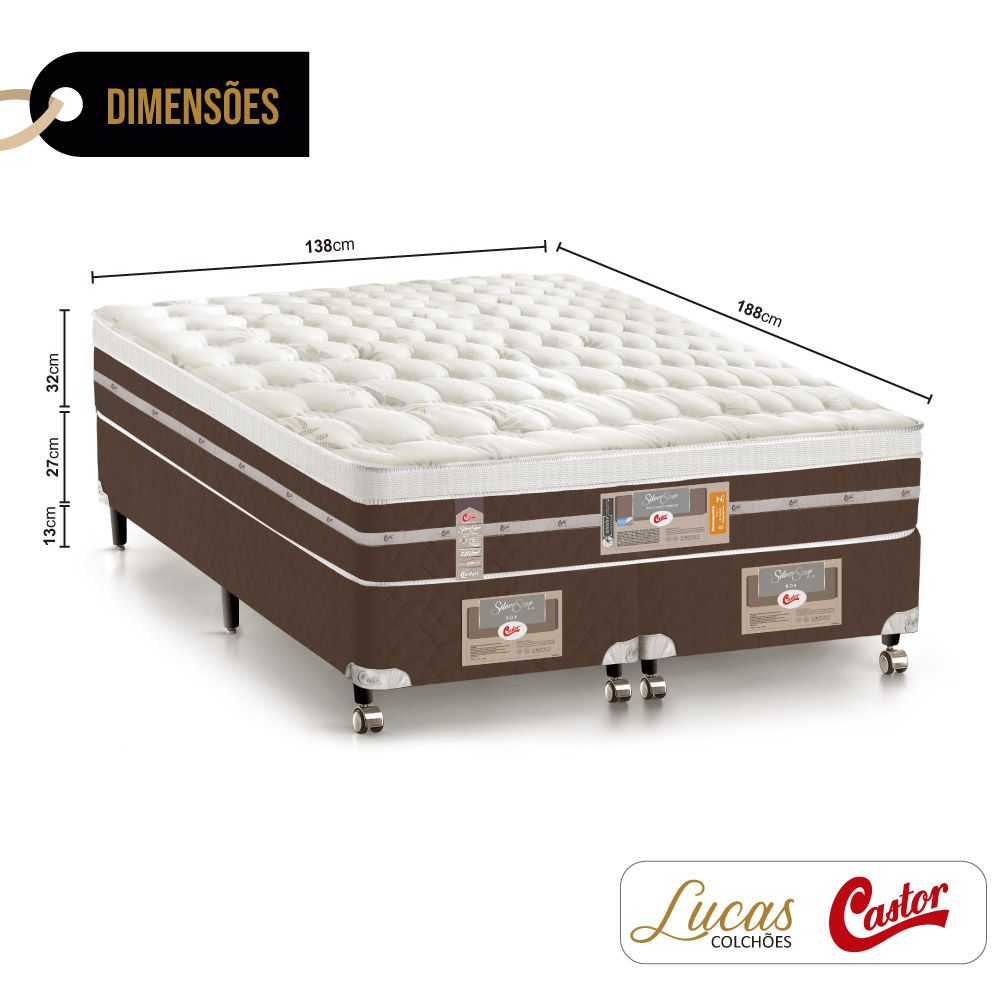 Cama Box Casal Bipartido + Colchão De Molas Ensacadas - Castor - Silver Star Air Híbrido 138cm