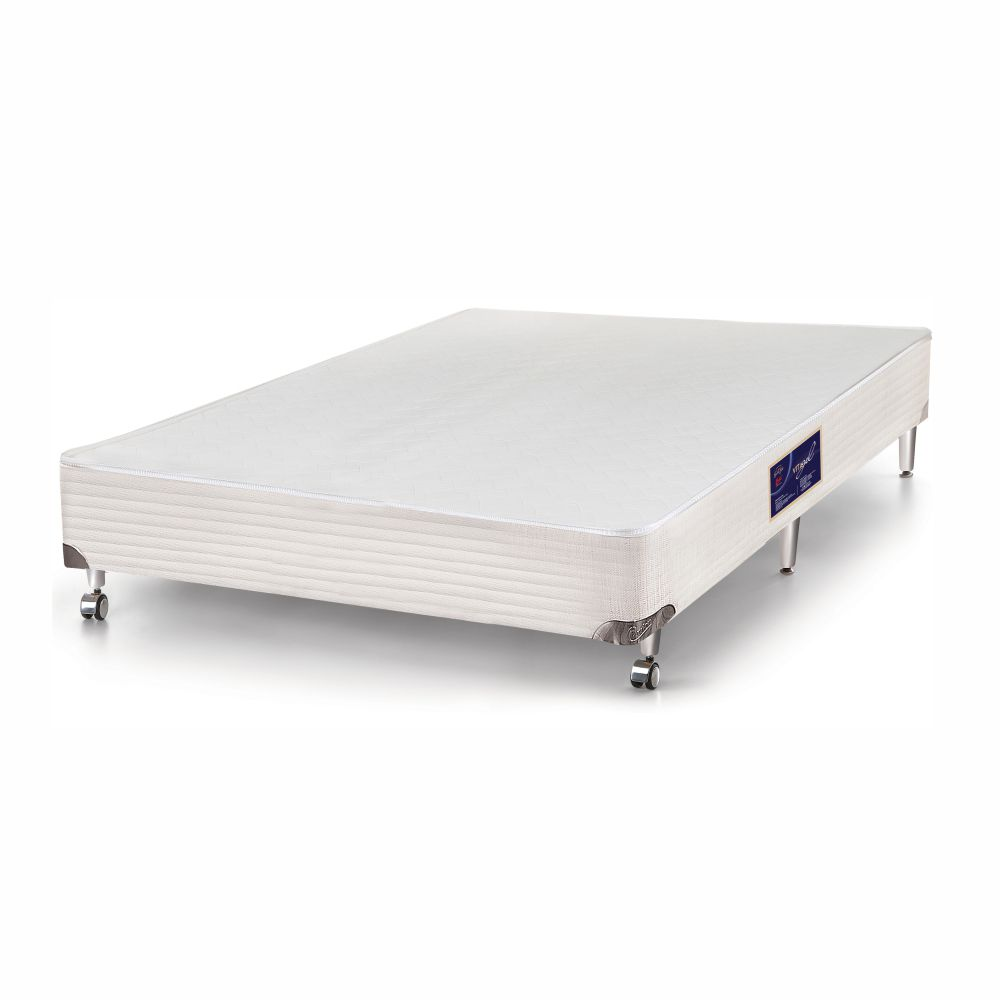 Cama Box Casal + Colchão De Molas Ensacadas - Castor - Vitagel SLX Double Face Pillow Top 138cm