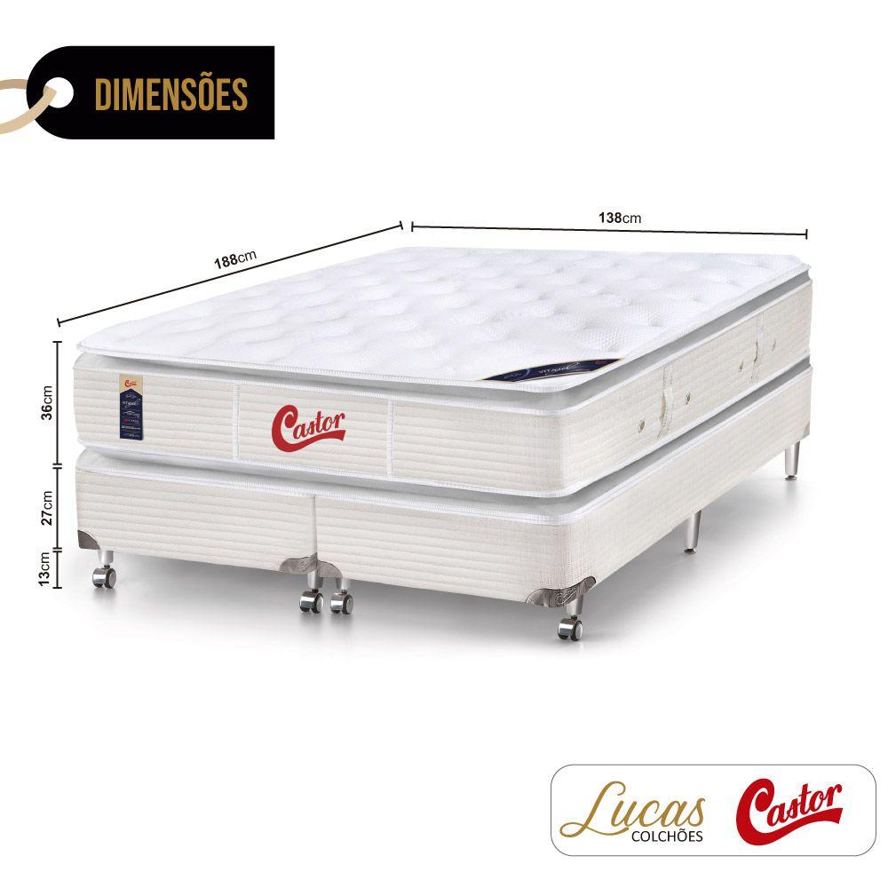 Cama Box Casal Bipartido + Colchão De Molas Ensacadas - Castor - Vitagel SLX Double Face Pillow Top 138cm