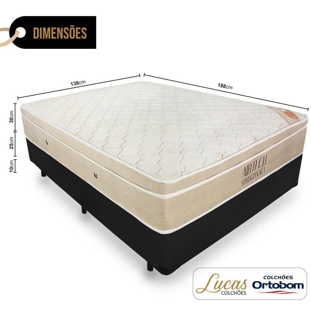 Cama Box Casal + Colchão De Molas Ensacadas - Ortobom - AirTech SpringPocket 138cm
