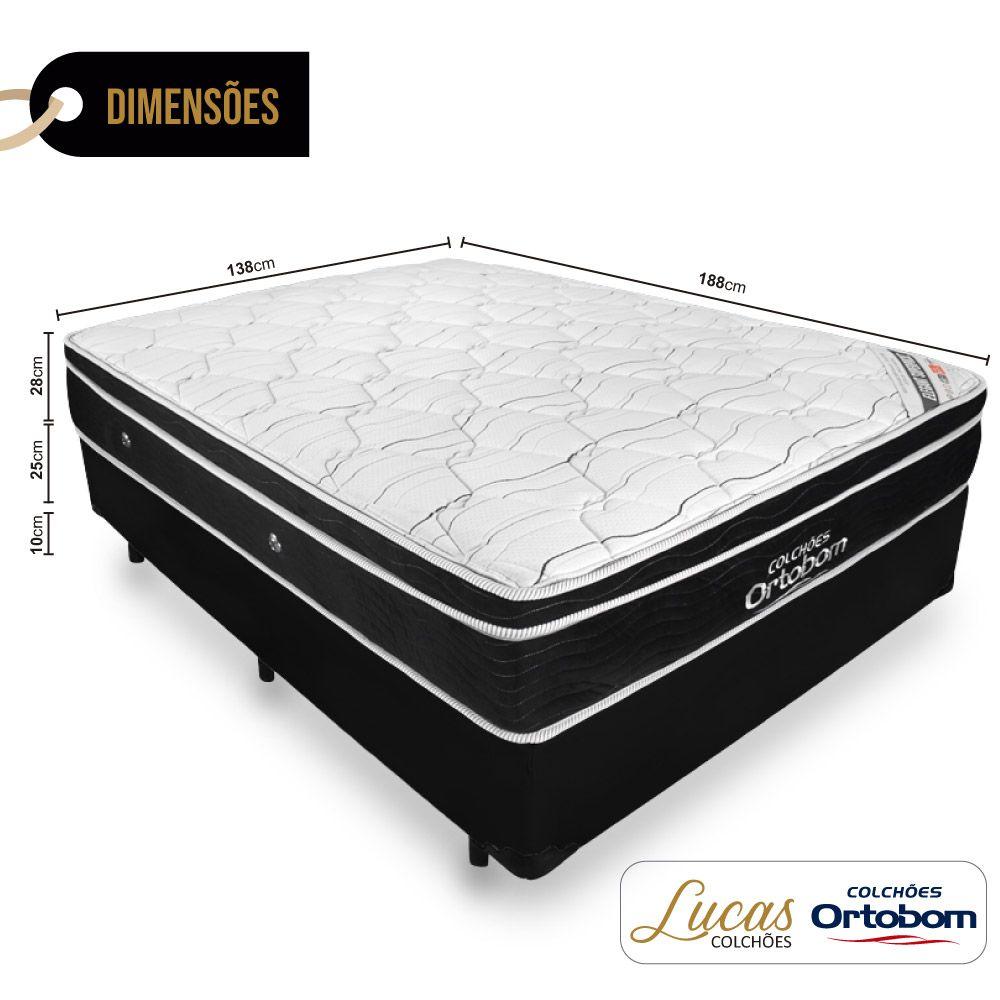 Cama Box Casal + Colchão De Molas Ensacadas - Ortobom - Elegant SuperPocket 138cm