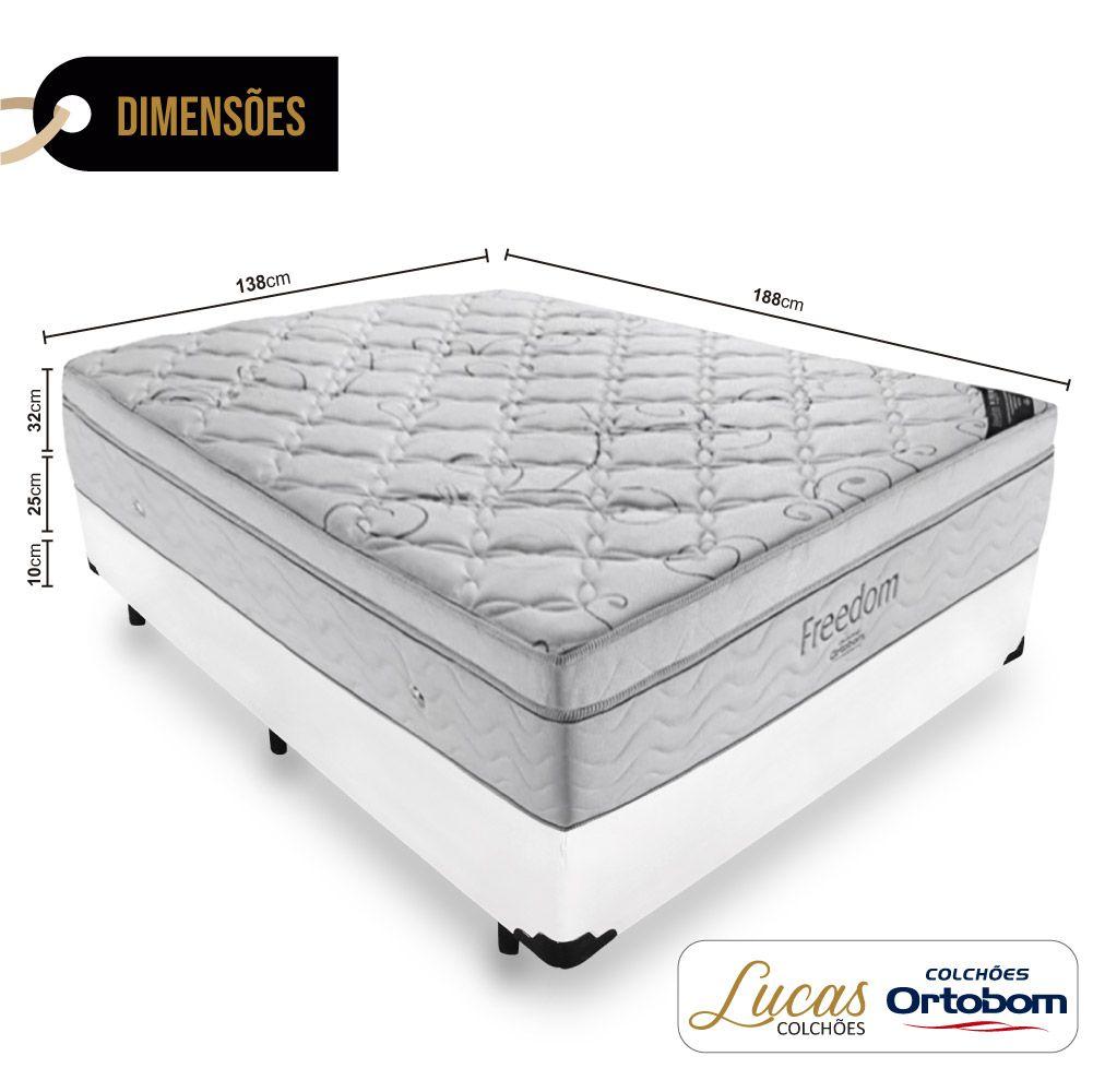 Cama Box Casal + Colchão De Molas Ensacadas - Ortobom - Freedom 138cm