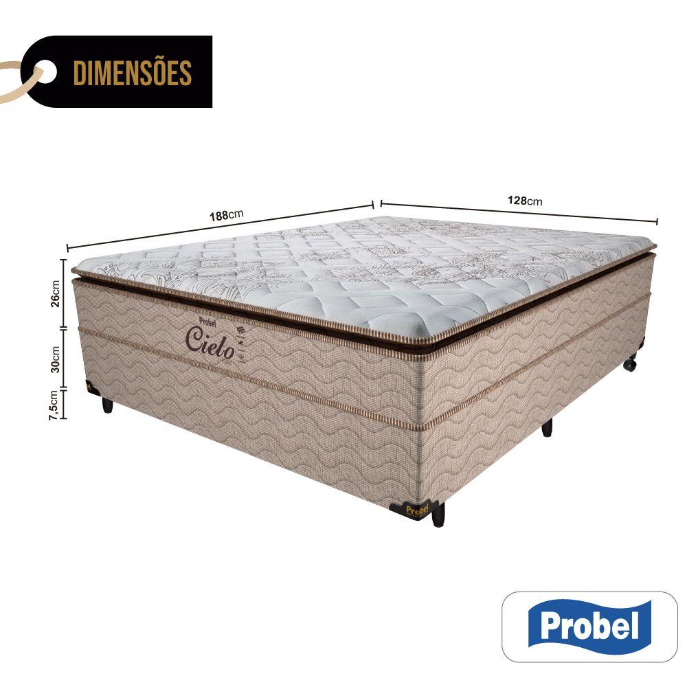 Cama Box Casal + Colchão de Molas Ensacadas - Probel - Cielo Pillow Super 68x188x138cm