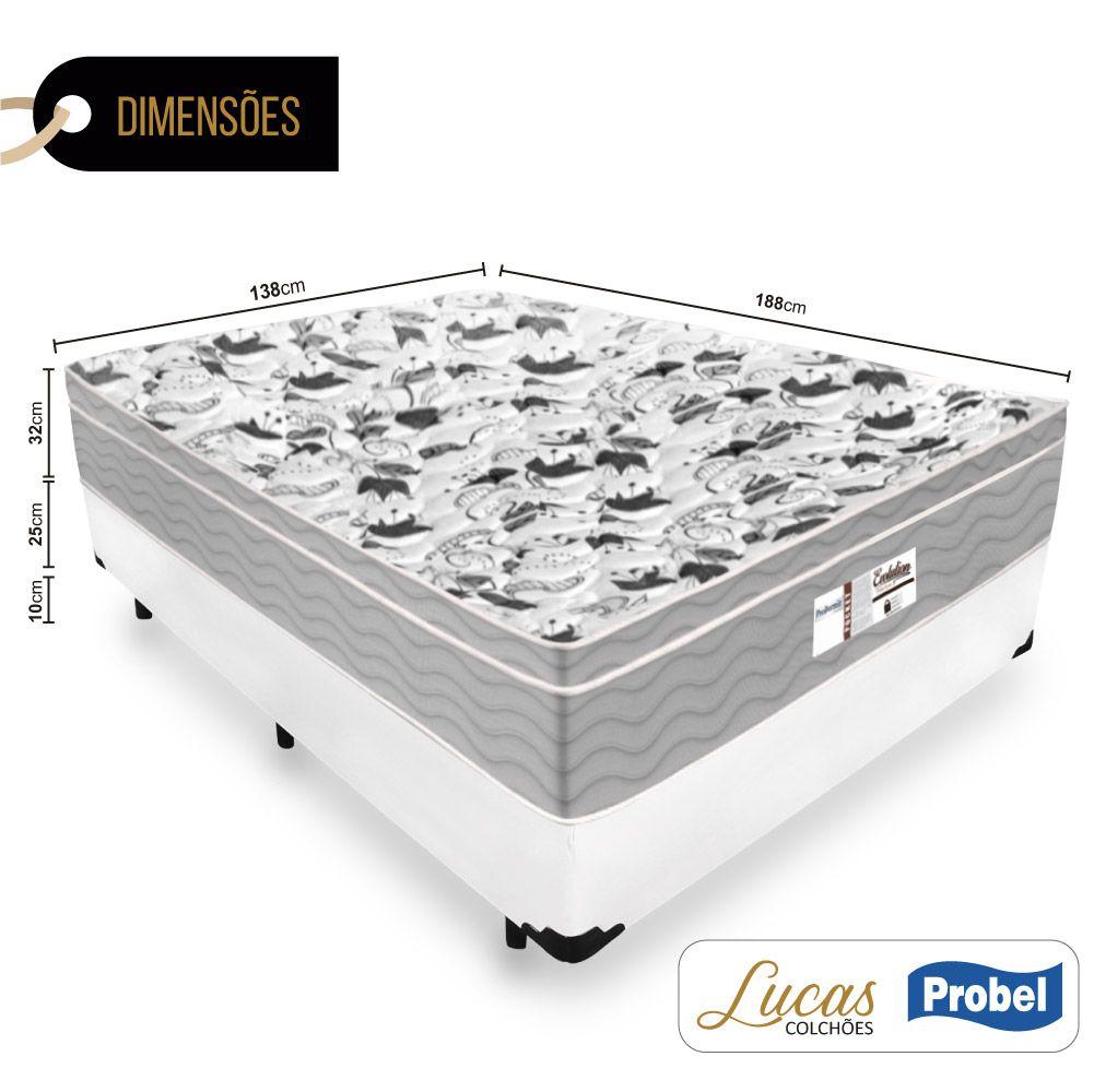 Cama Box Casal + Colchão De Molas Ensacadas - Probel - Evolution 138cm
