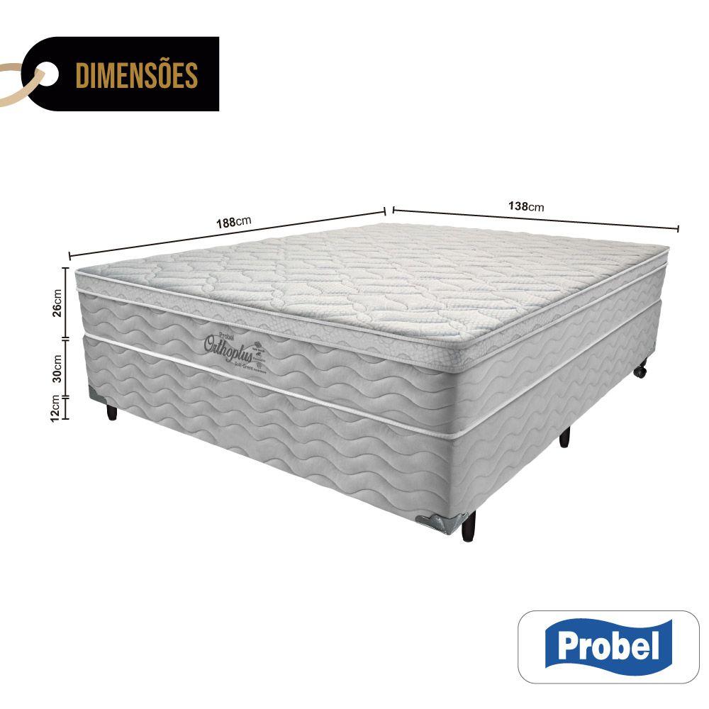 Cama Box Casal + Colchão de Molas - Probel - Orthoplus Soft Green Pillow Euro 68x188x138cm