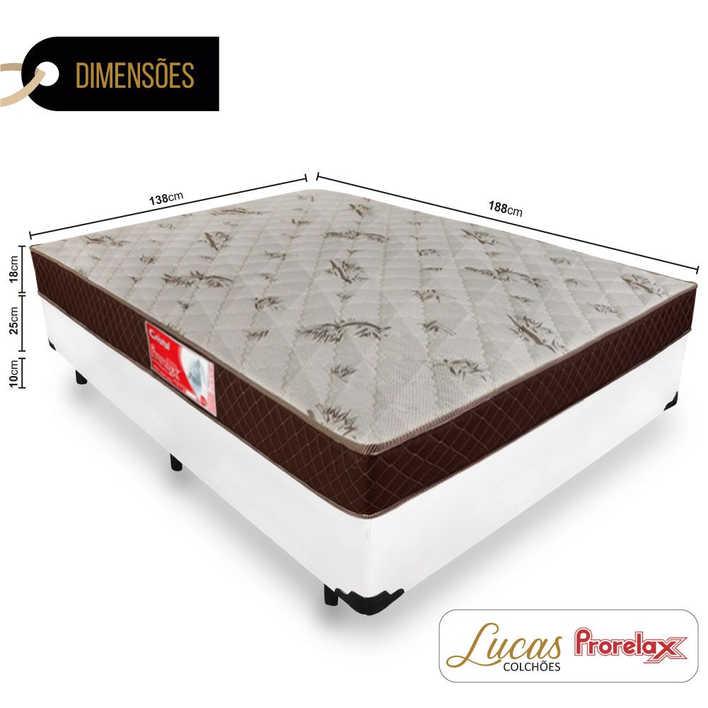 Cama Box Casal + Colchão De Molas - Prorelax - Cristal 138cm