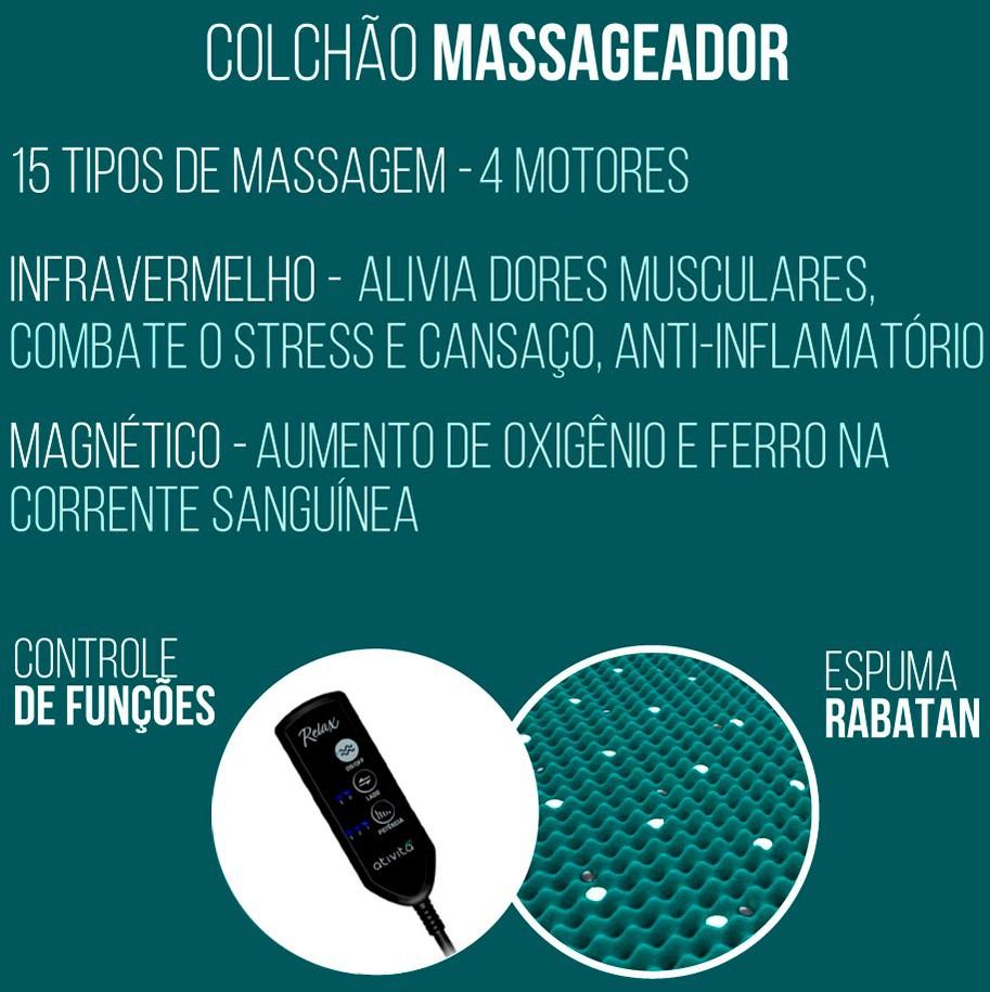 Cama Box Casal + Colchão Massageador c/ Infravermelho - Anjos  - New King 138cm