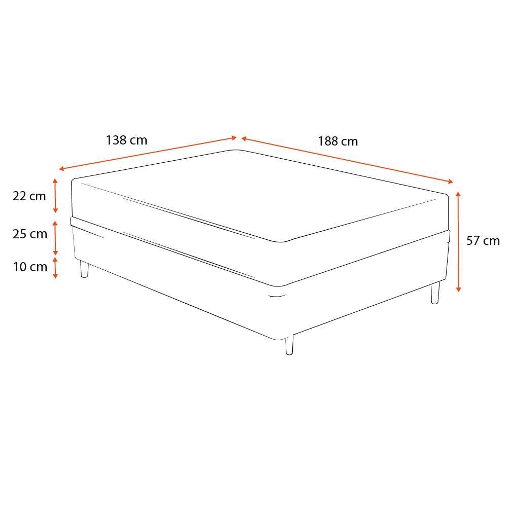 Cama Box Casal Marrom + Colchão de Molas Superlastic - Comfort Prime - Coil Classic - 138x188x57cm