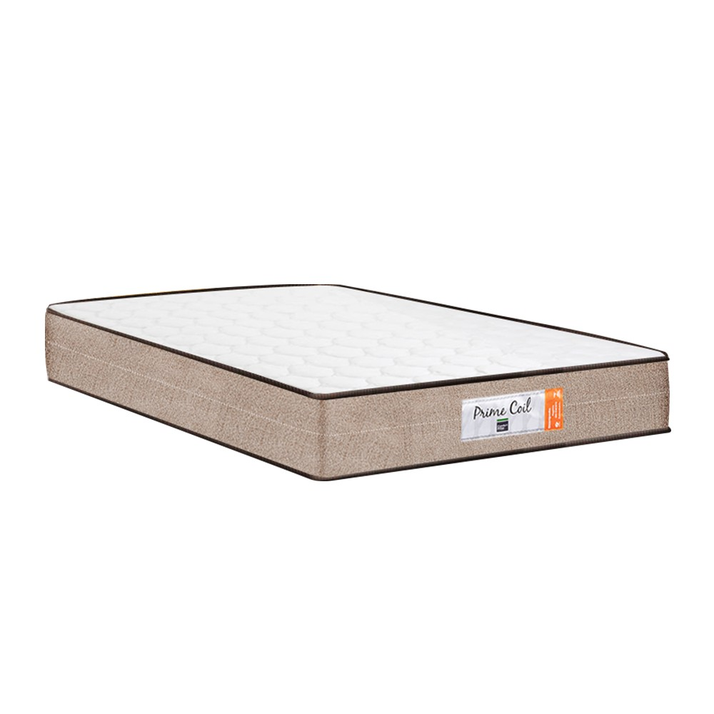 Cama Box Casal Marrom + Colchão de Molas Superlastic - Comfort Prime - Coil Crystal - 138x188x53cm