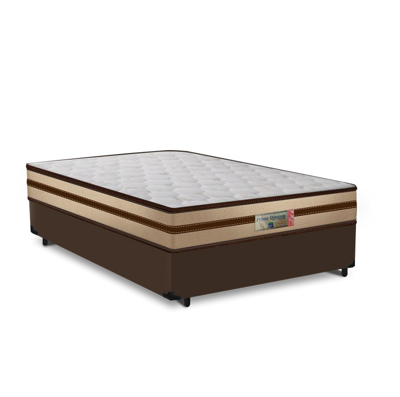 Cama Box Casal Marrom + Colchão de Molas Ensacadas - Comfort Prime - Prime Dreams Classic - 138x188x57cm