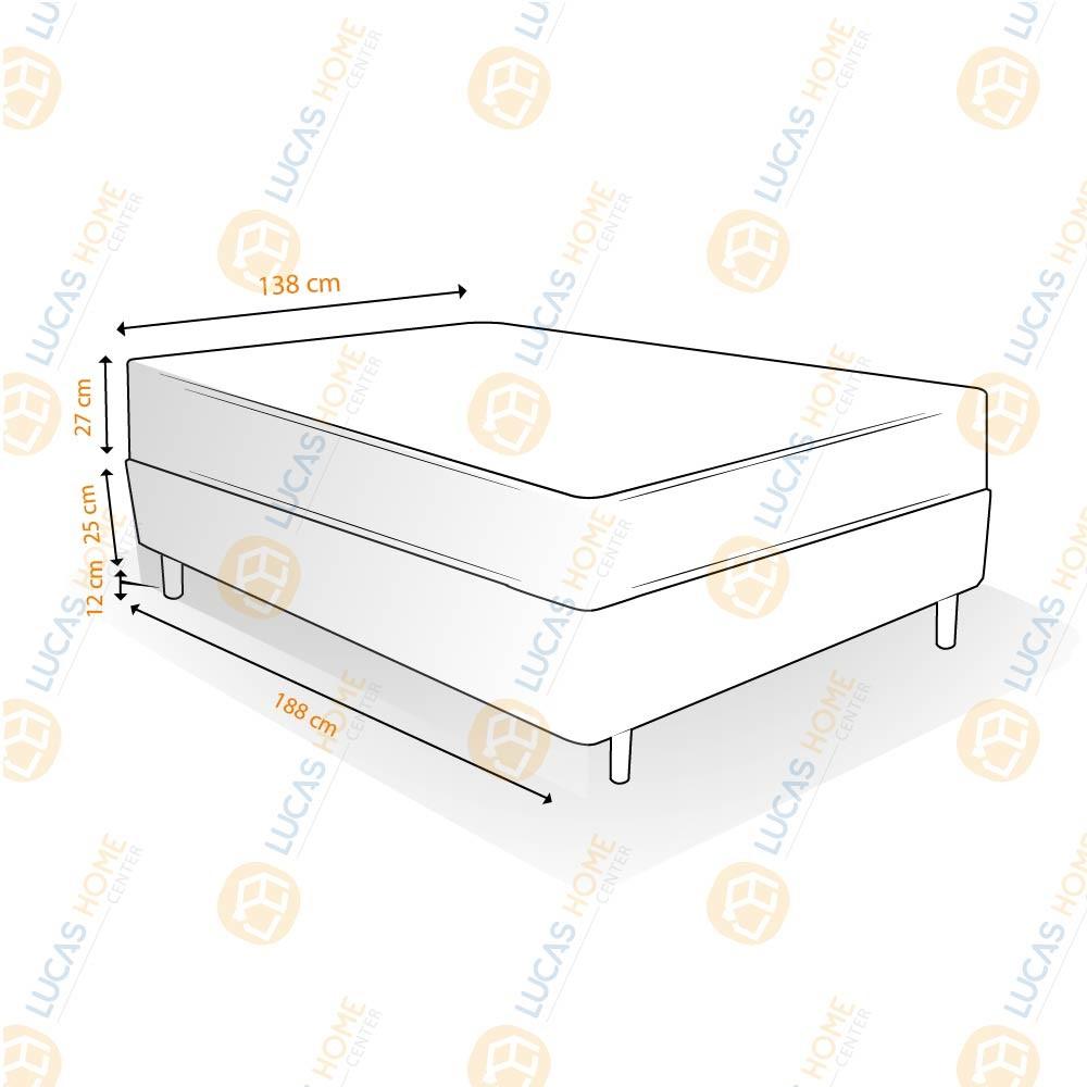 Cama Box Casal Rústica + Colchão De Espuma D45 - Castor - Black White Double Face 138x188x64cm