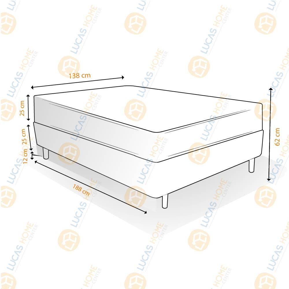 Cama Box Casal Rústica + Colchão Molas Bonnel - Lucas Home - OuroFlex 138x188x62cm