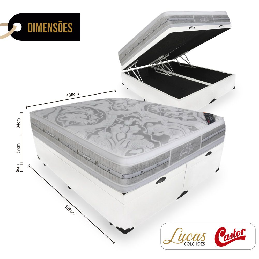Box Com Baú Casal Bipartido + Colchão De Molas Ensacadas - Castor - Gold Star Double Face 138cm