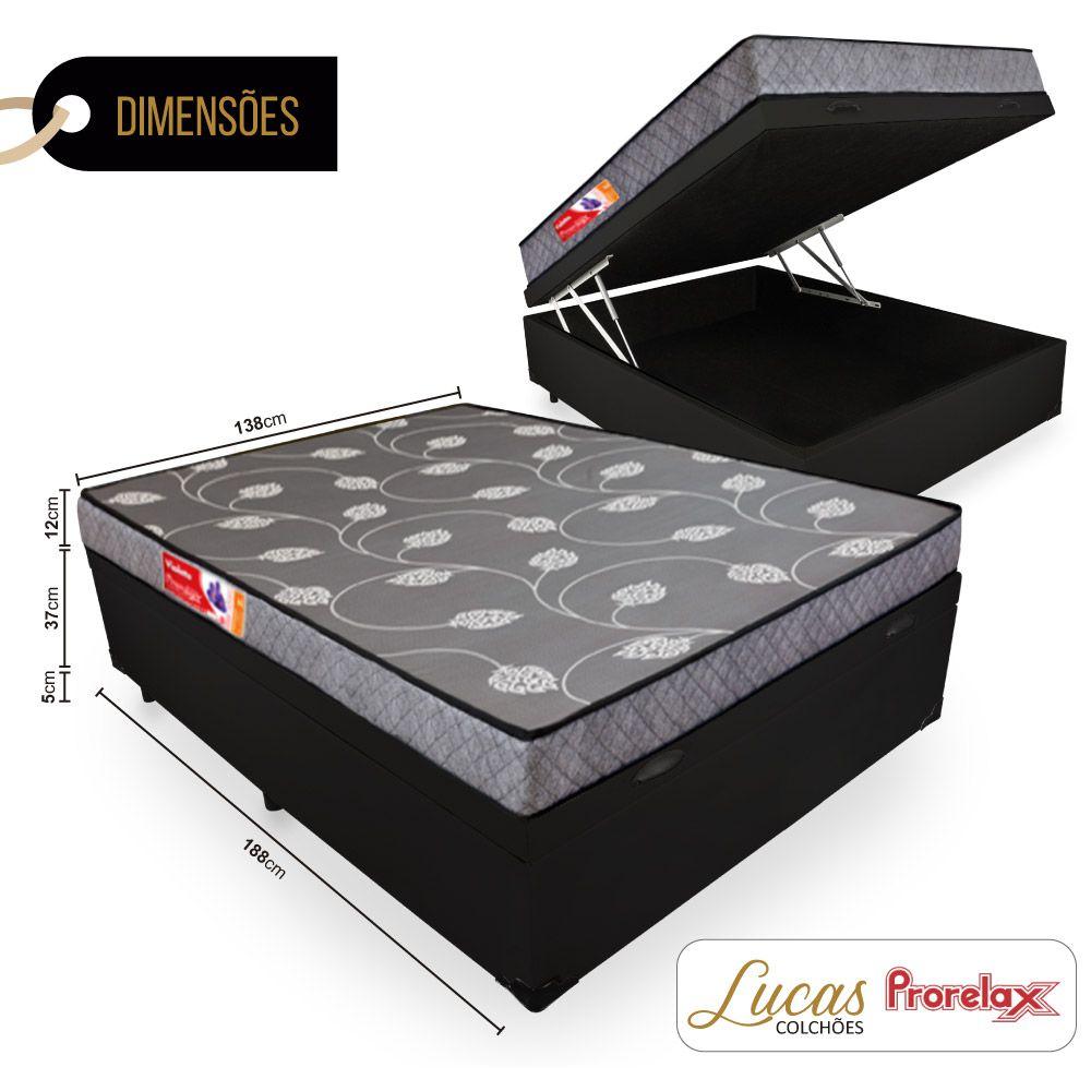 Cama Box Com Baú Casal + Colchão De Espuma D20 - Prorelax - Violeta 138cm