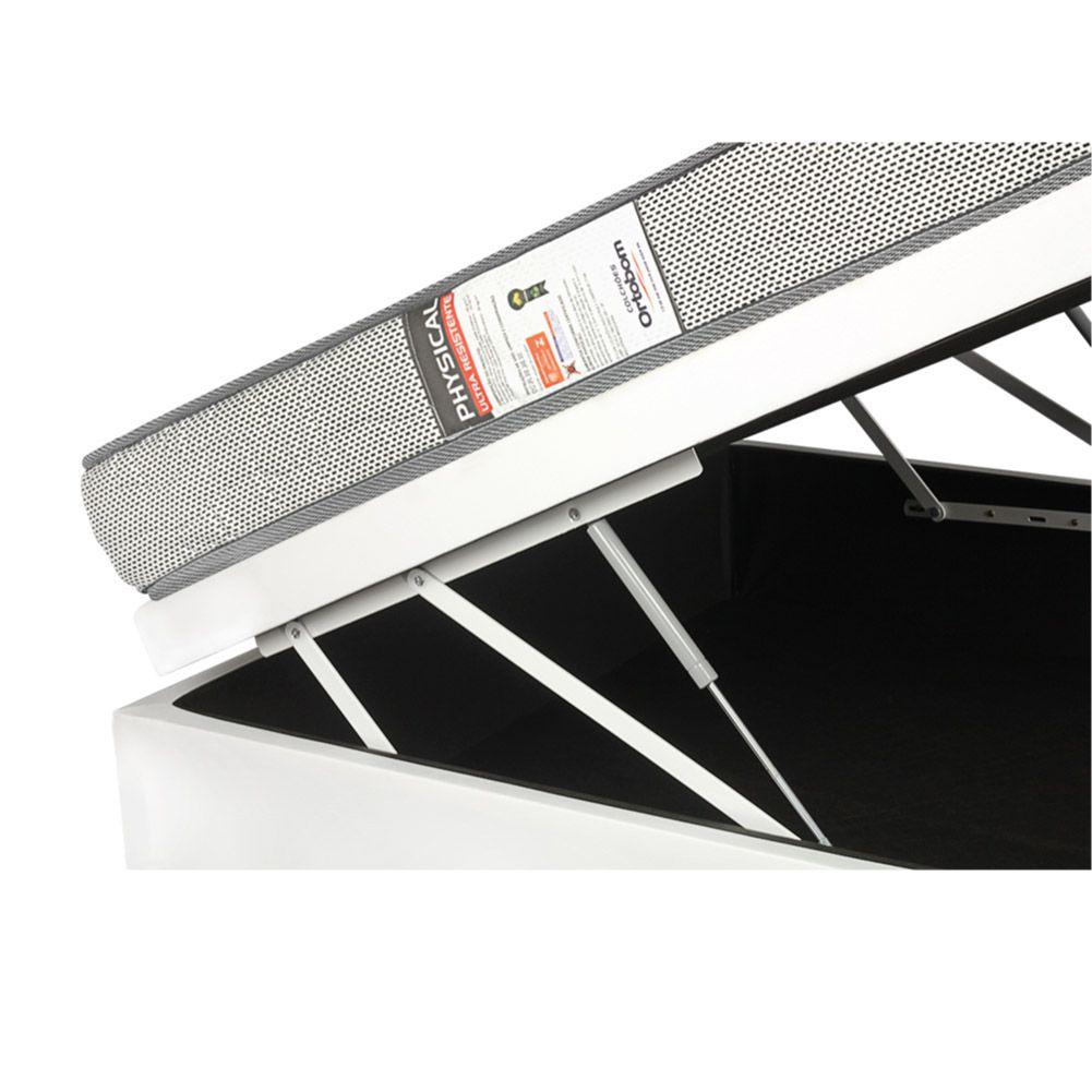 Cama Box Com Baú Casal + Colchão De Espuma D26 - Ortobom - Physical Ultra Resistente 138cm