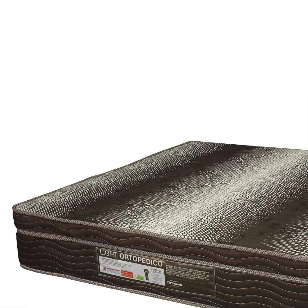 Cama Box Com Baú Casal + Colchão De Espuma D28 - Ortobom - Light Ortopédico 138cm