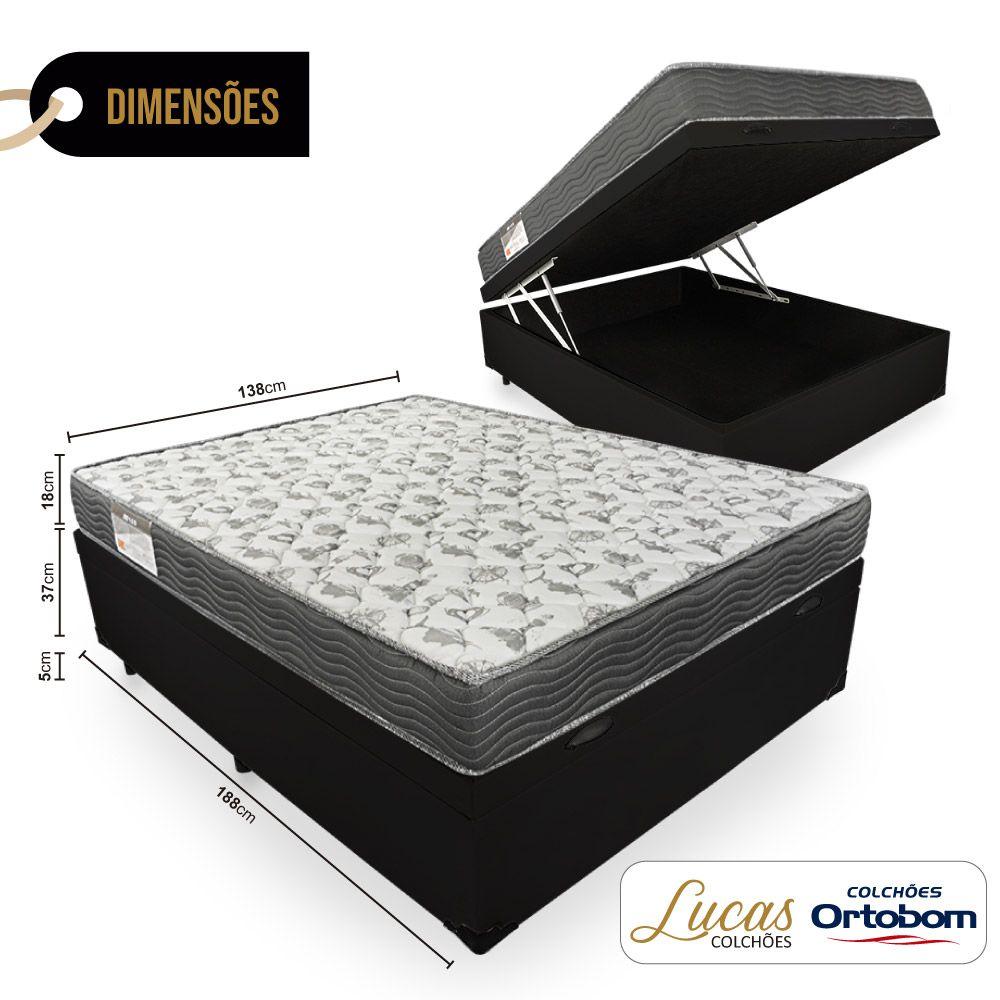 Cama Box Com Baú Casal + Colchão De Espuma D33 - Ortobom - ISO 100 138cm