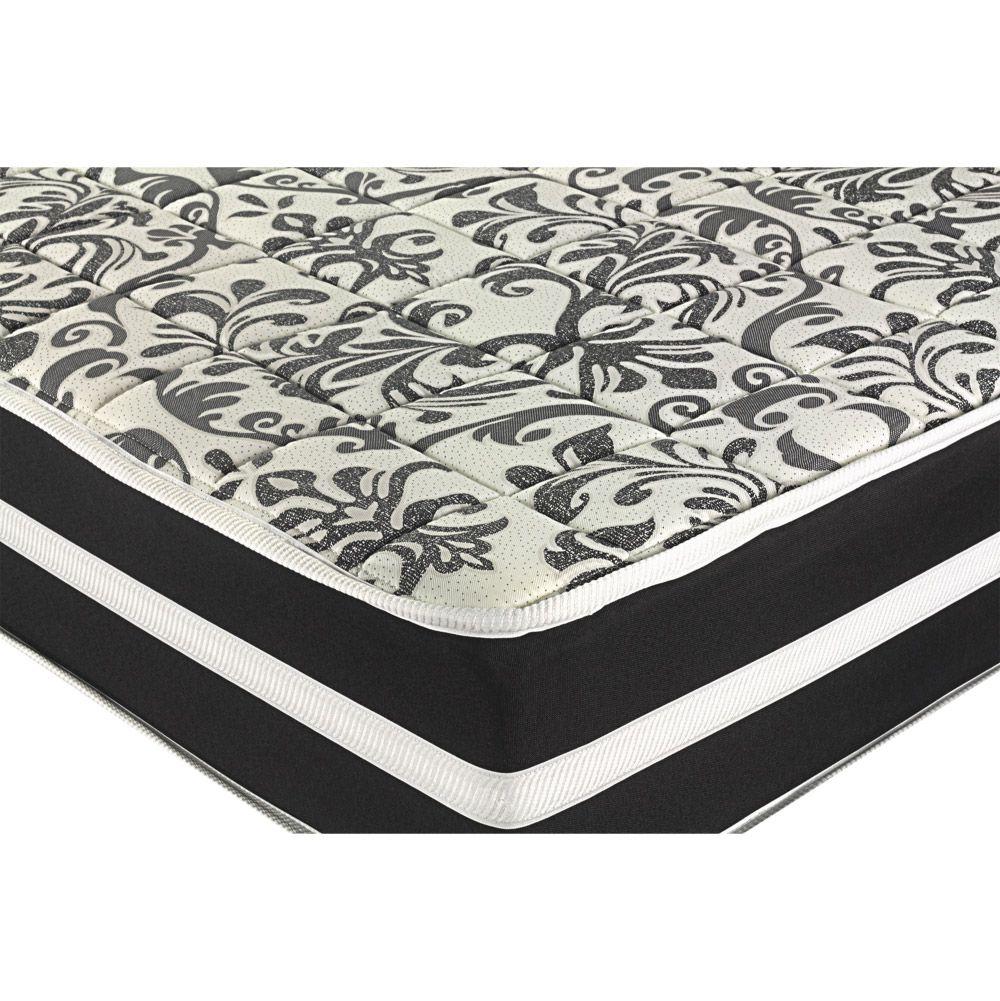Cama Box Com Baú Casal + Colchão De Molas - Anjos - Black Graphite 138cm