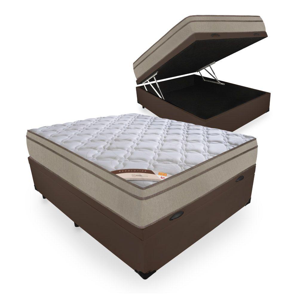 Cama Box Com Baú Casal + Colchão de Molas - Castor - Revolution Bonnel 69x188x138cm
