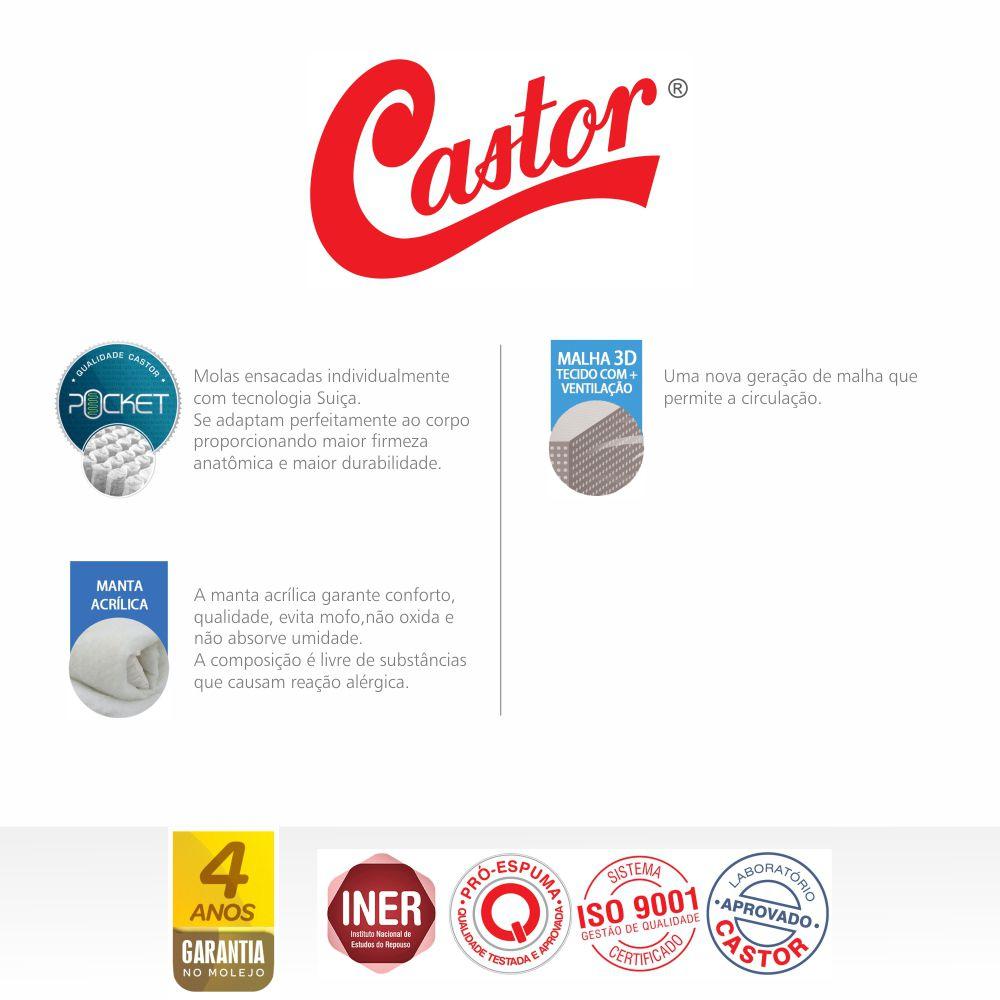 Cama Box Com Baú Casal + Colchão De Molas Ensacadas - Castor - Eurotop Summer & Winter 138cm