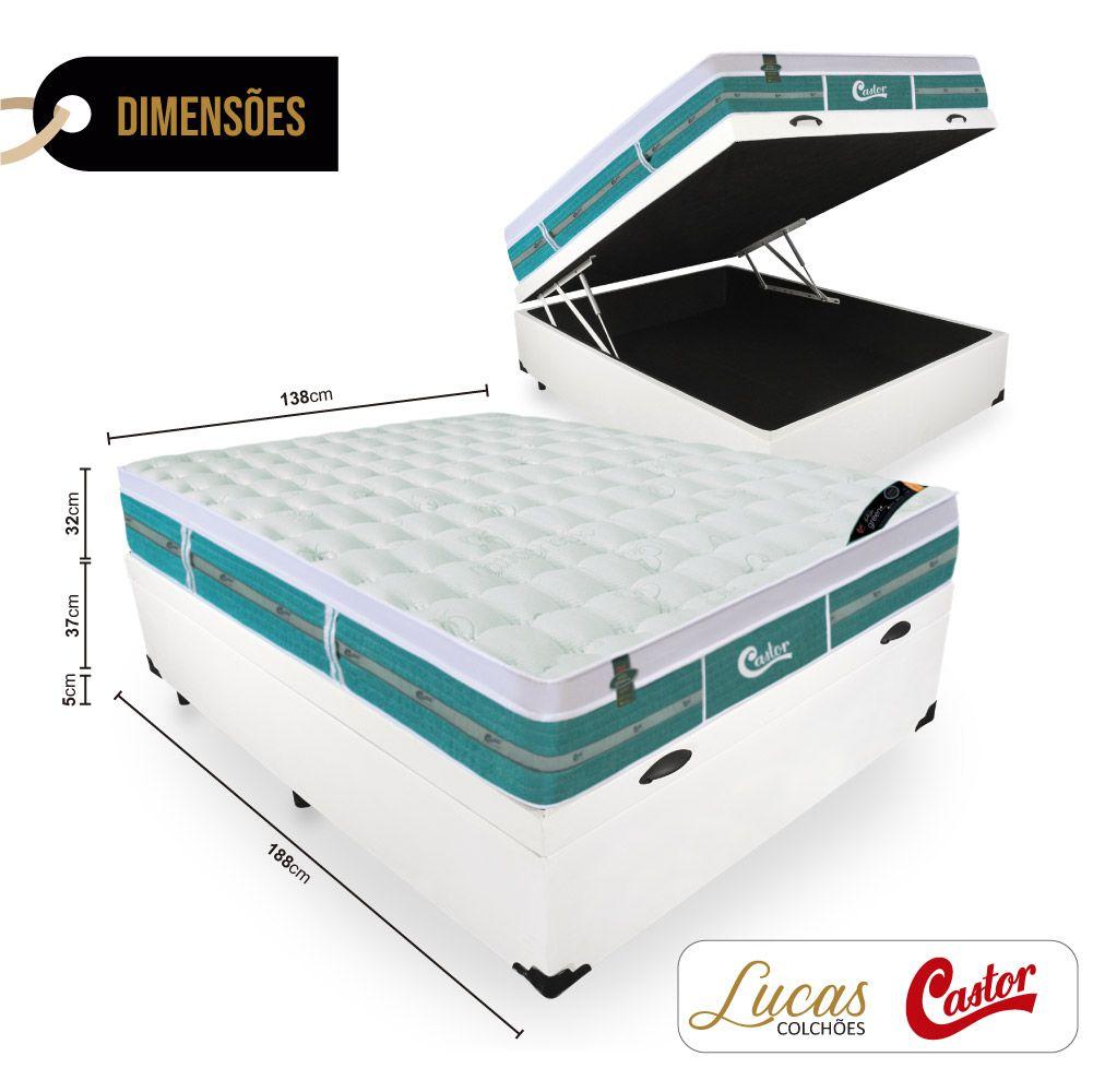 Cama Box Com Baú Casal + Colchão De Molas Ensacadas - Castor - Green Unique 138cm