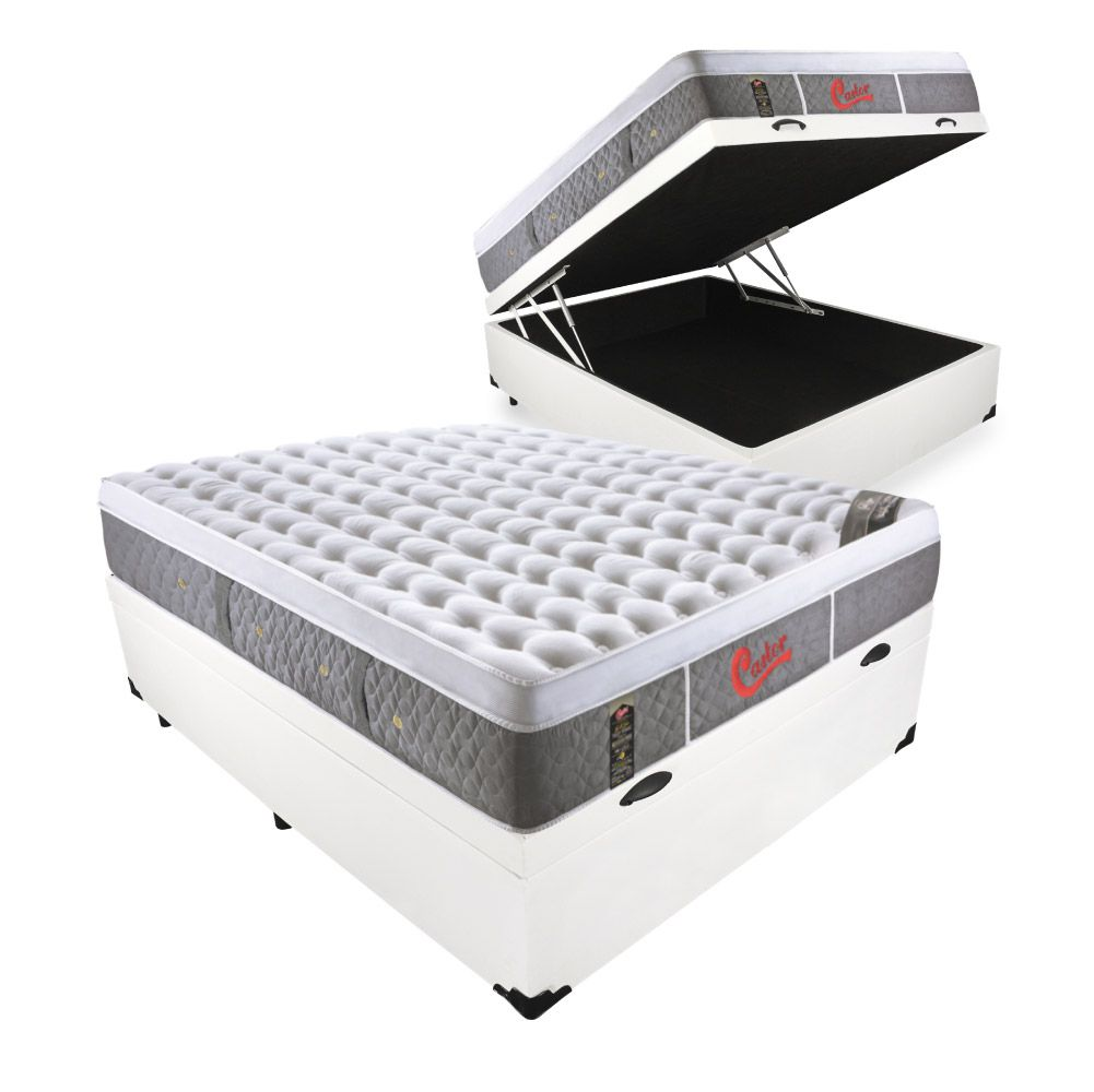 Cama Box Com Baú Casal + Colchão De Molas Ensacadas - Castor - Light Stress Oxygen Plush One Face 138cm