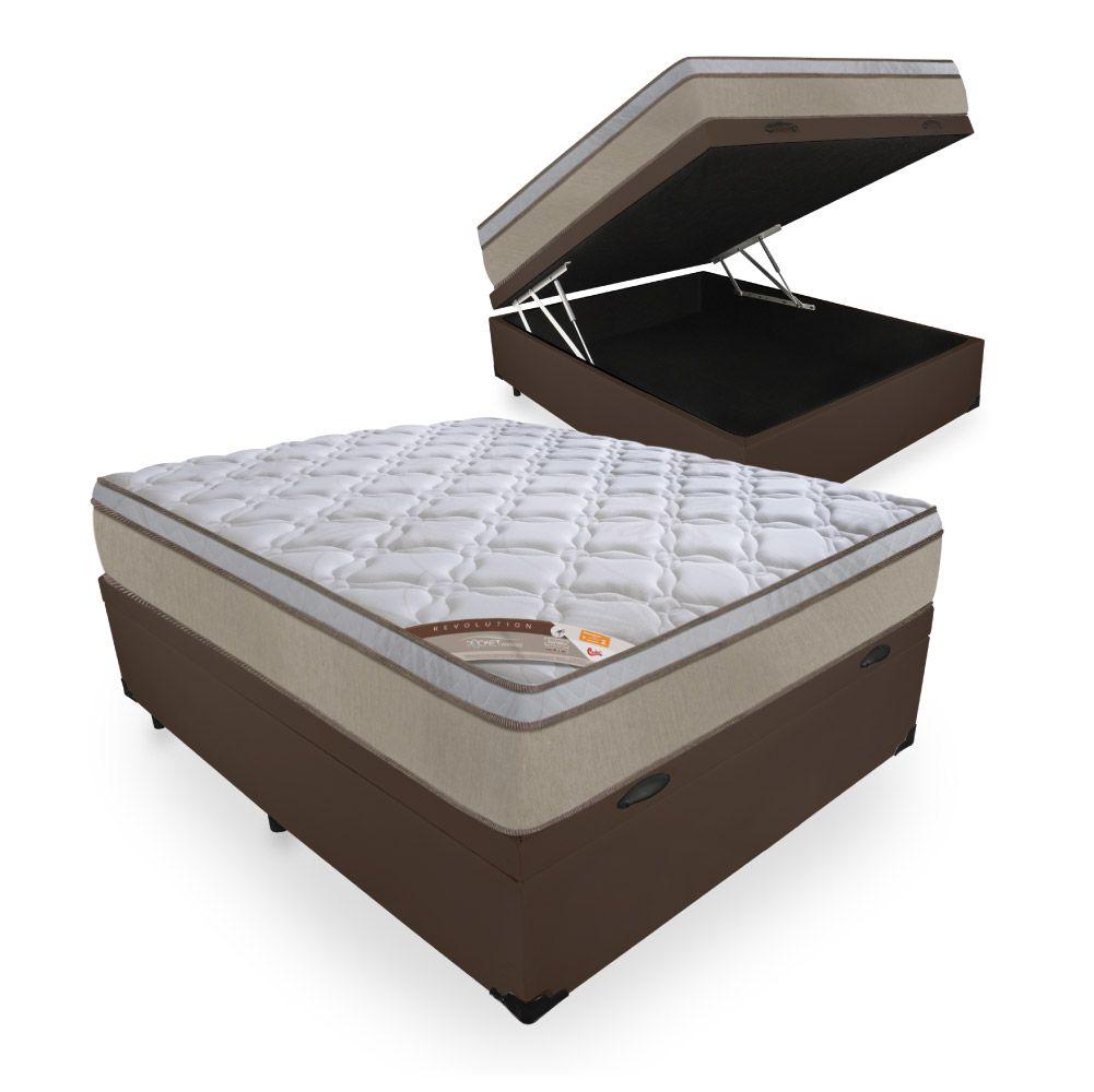 Cama Box Com Baú Casal + Colchão de Molas Ensacadas - Castor - Revolution Híbrido 69x188x138cm