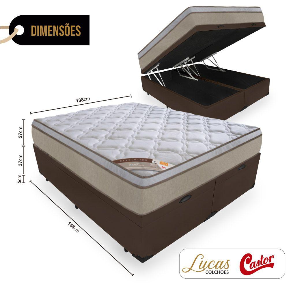 Box Com Baú Casal Bipartido + Colchão de Molas Ensacadas - Castor - Revolution Híbrido 69x188x138cm