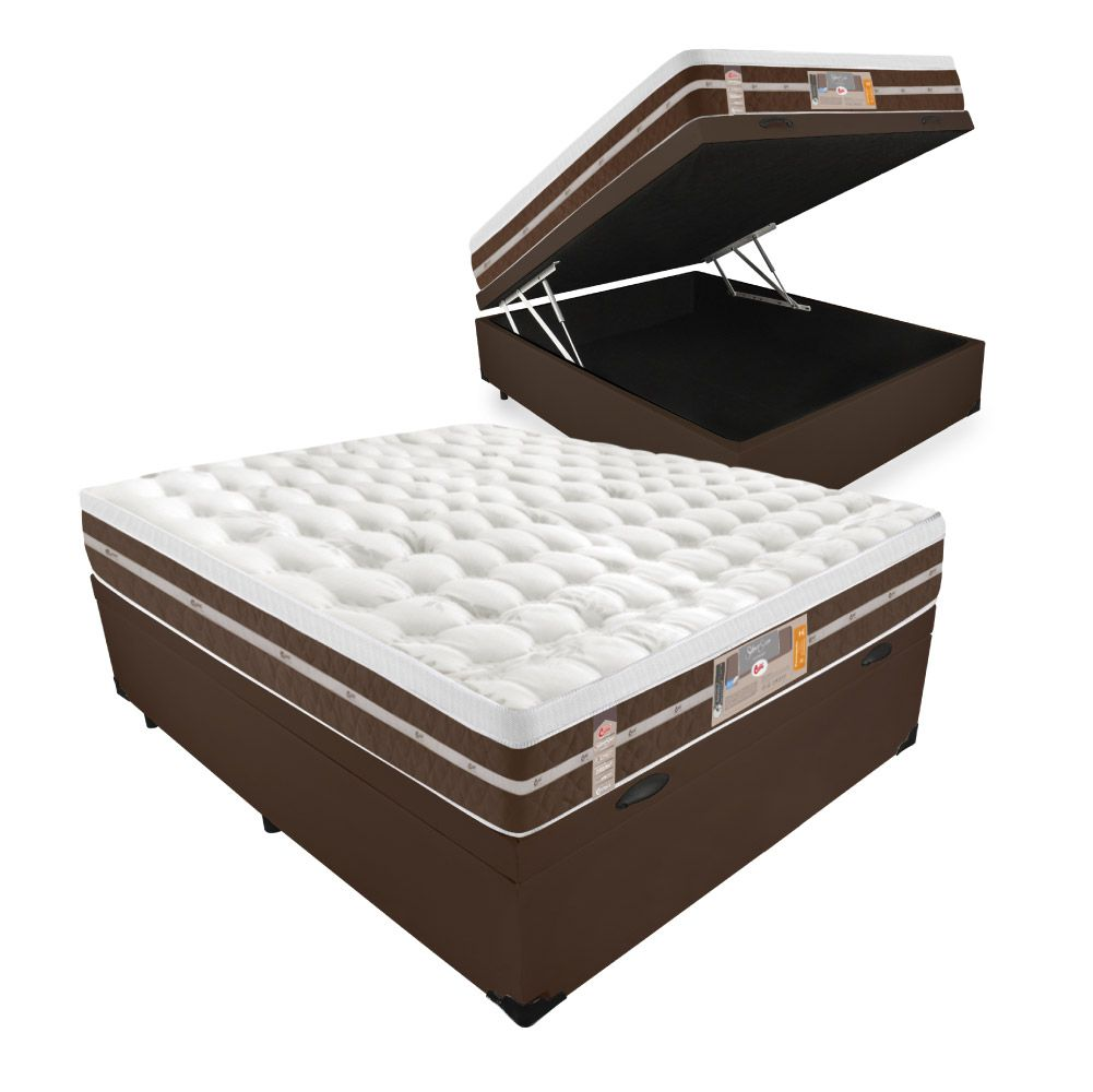 Cama Box Com Baú Casal + Colchão de Molas Ensacadas - Castor - Silver Star Air Híbrido 74x188x138cm