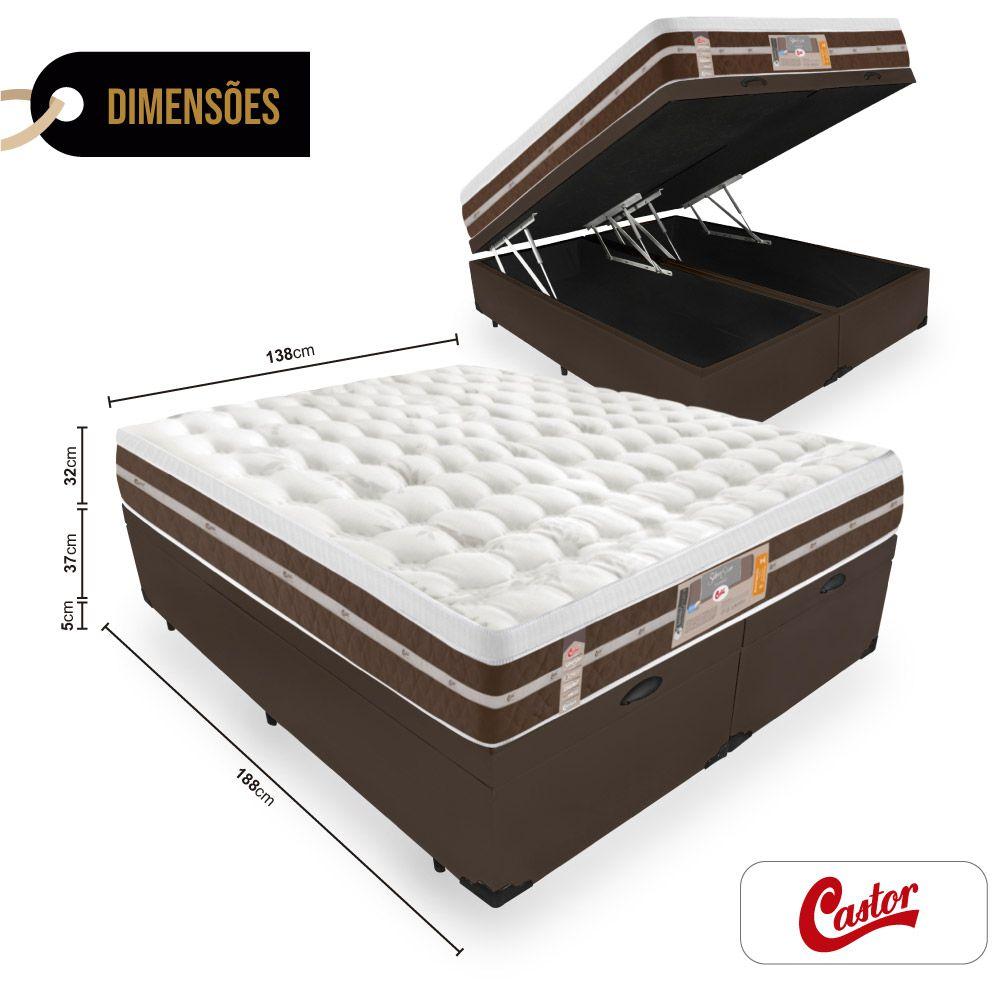 Box Com Baú Casal Bipartido + Colchão de Molas Ensacadas - Castor - Silver Star Air Híbrido 74x188x138cm