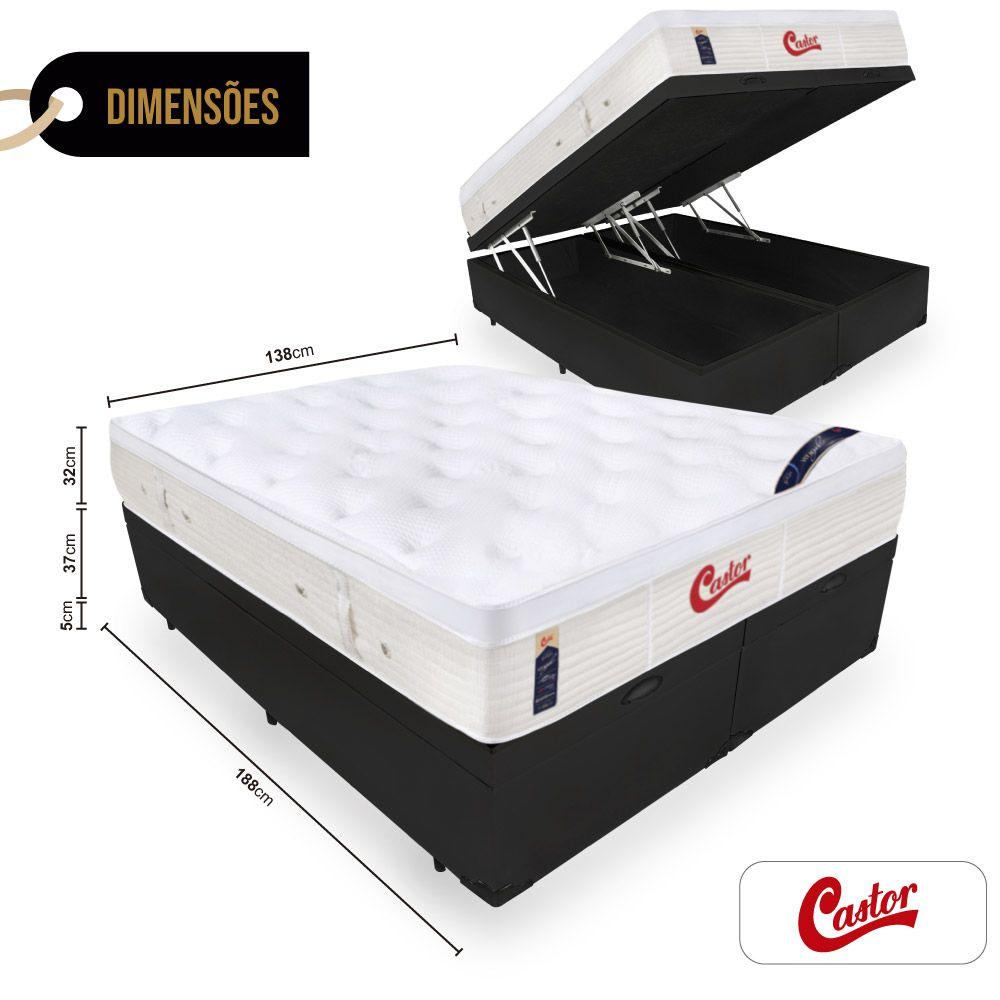 Box Com Baú Casal Bipartido + Colchão de Molas Ensacadas  - Castor - Vitagel Euro 74x188x138cm