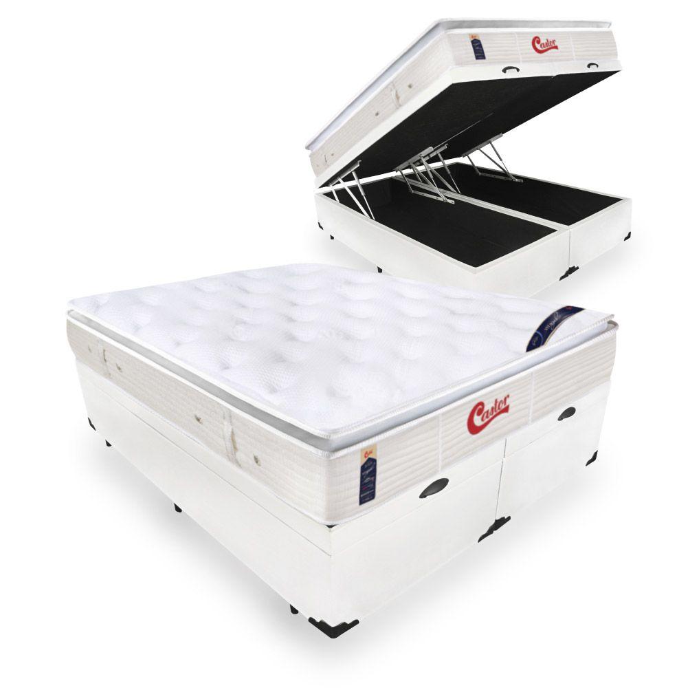 Box Com Baú Casal Bipartido + Colchão de Molas Ensacadas  - Castor - Vitagel SLX One Face Pillow Top  71x188x138cm