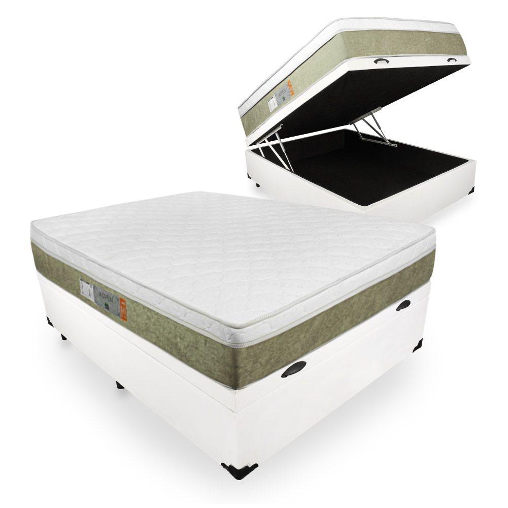 Cama Box Com Baú Casal + Colchão De Molas Ensacadas - Comfort Prime - Aspen 138cm
