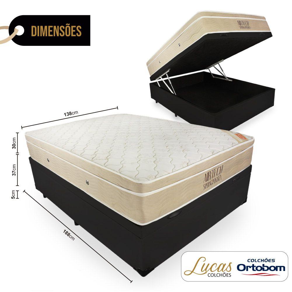 Cama Box com Baú Casal + Colchão De Molas Ensacadas - Ortobom - AirTech SpringPocket 138cm