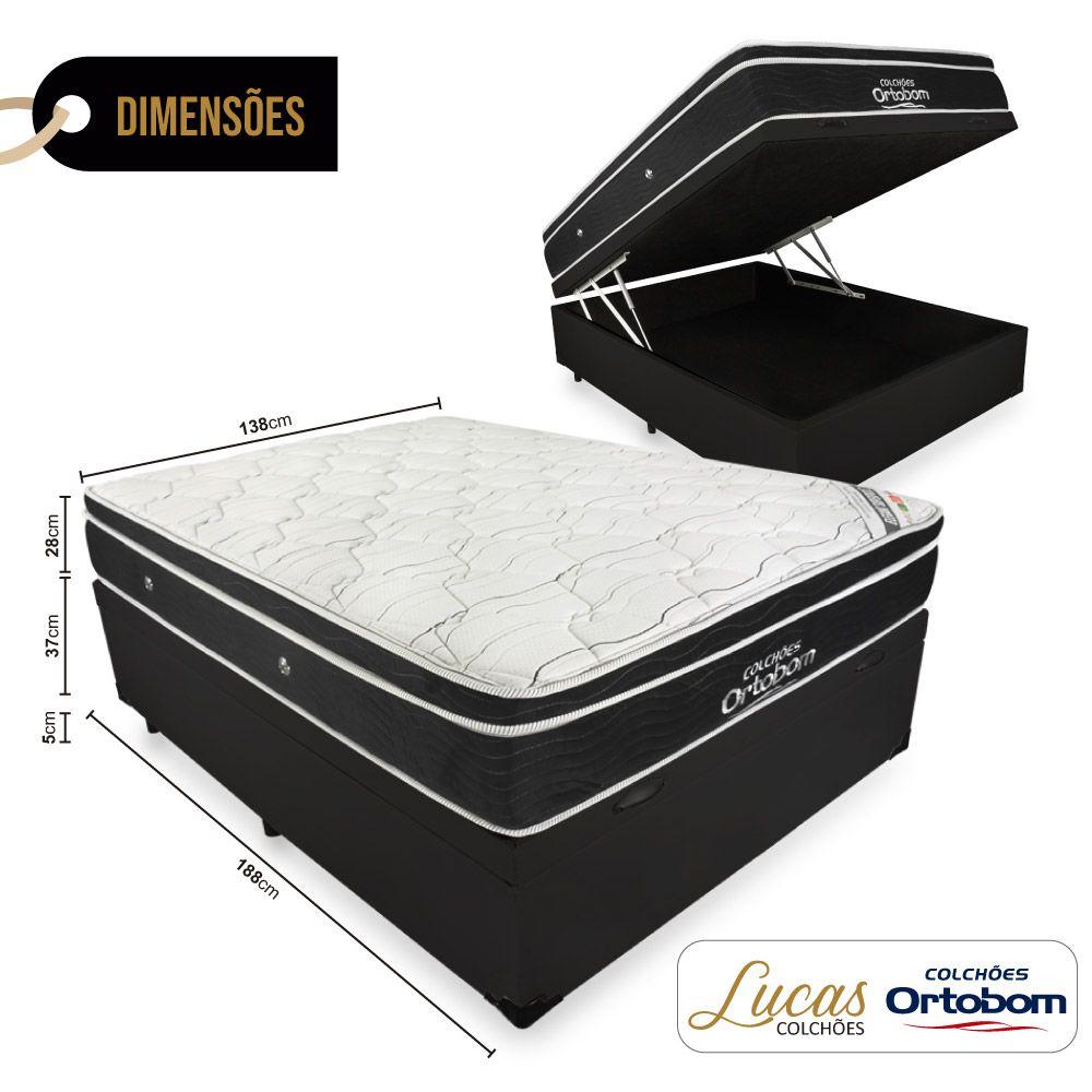 Cama Box Com Baú Casal + Colchão De Molas Ensacadas - Ortobom - Elegant SuperPocket 138cm