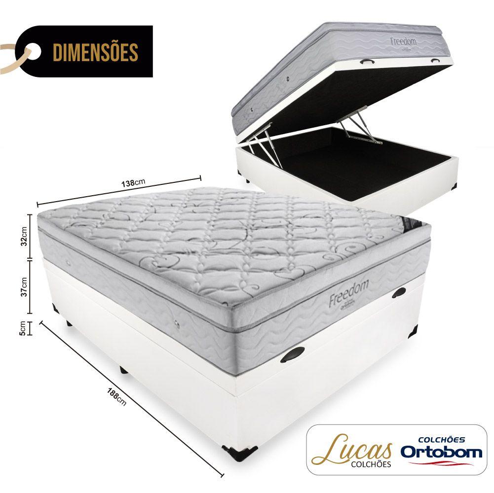 Cama Box Com Baú Casal + Colchão De Molas Ensacadas - Ortobom - Freedom 138cm
